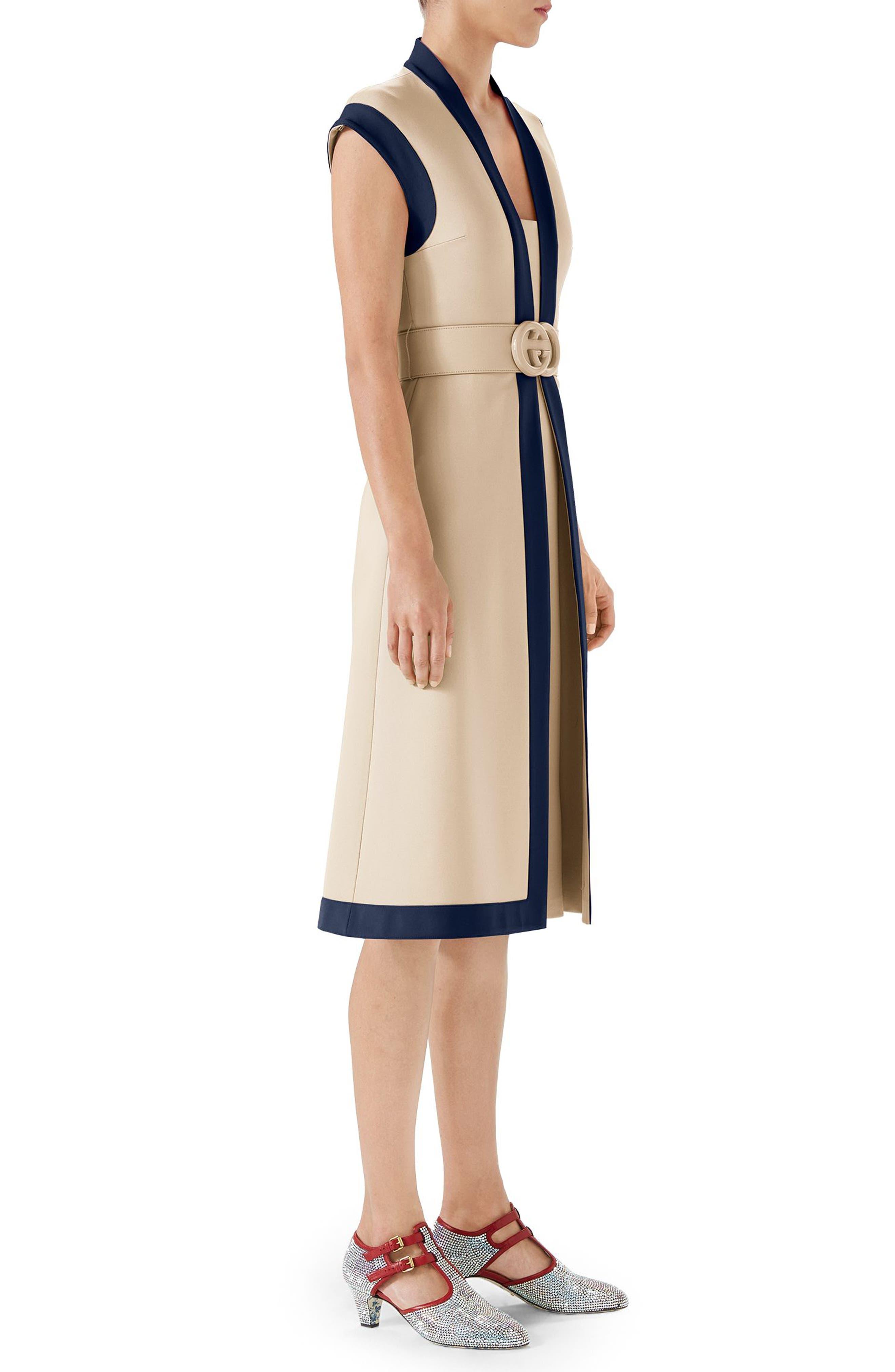 Contrast Trim Belted Dress,                             Alternate thumbnail 3, color,                             Almond Flower/ Royal