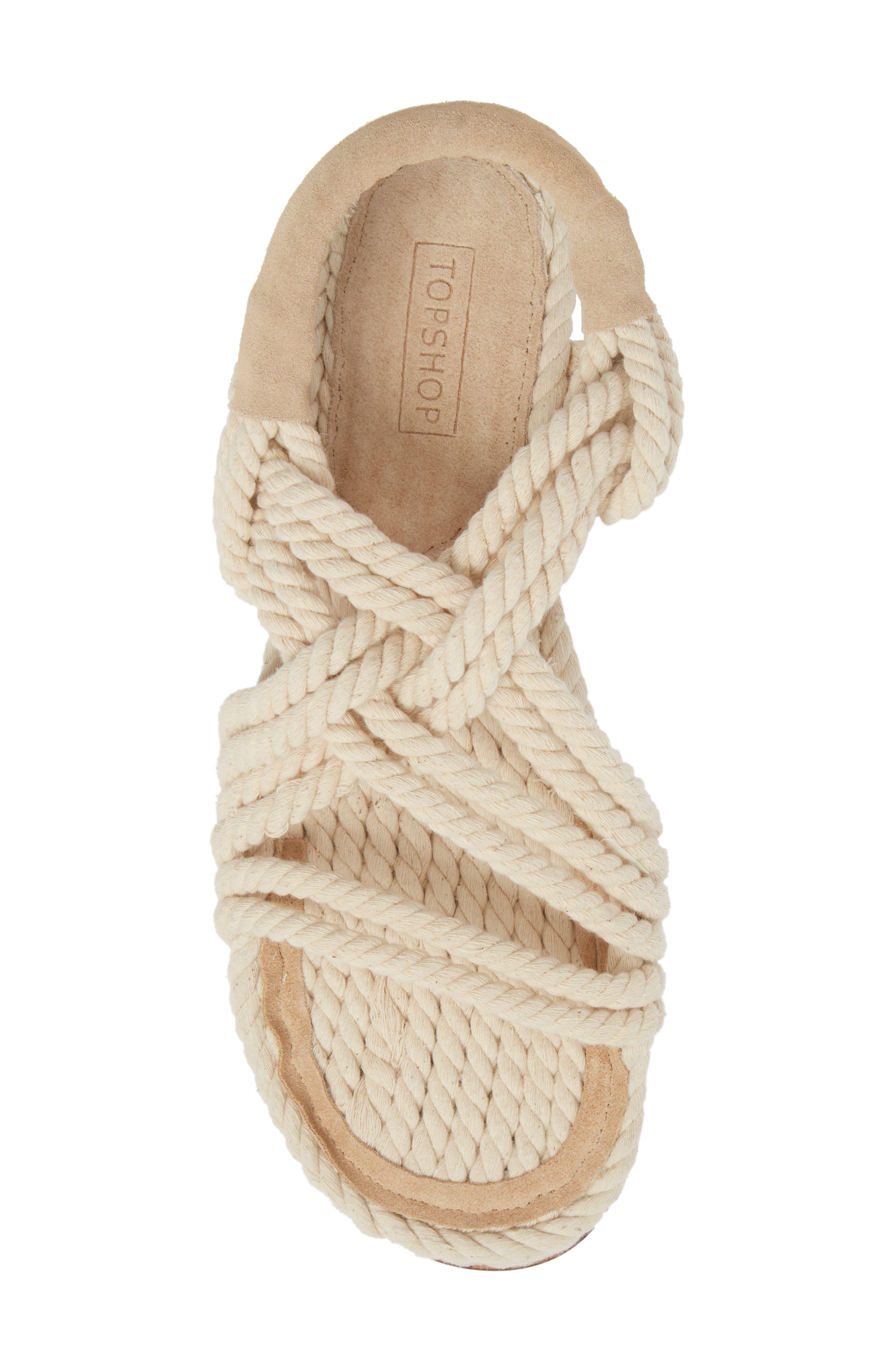 Fiesta Rope Flat Sandal,                             Alternate thumbnail 5, color,                             Nude