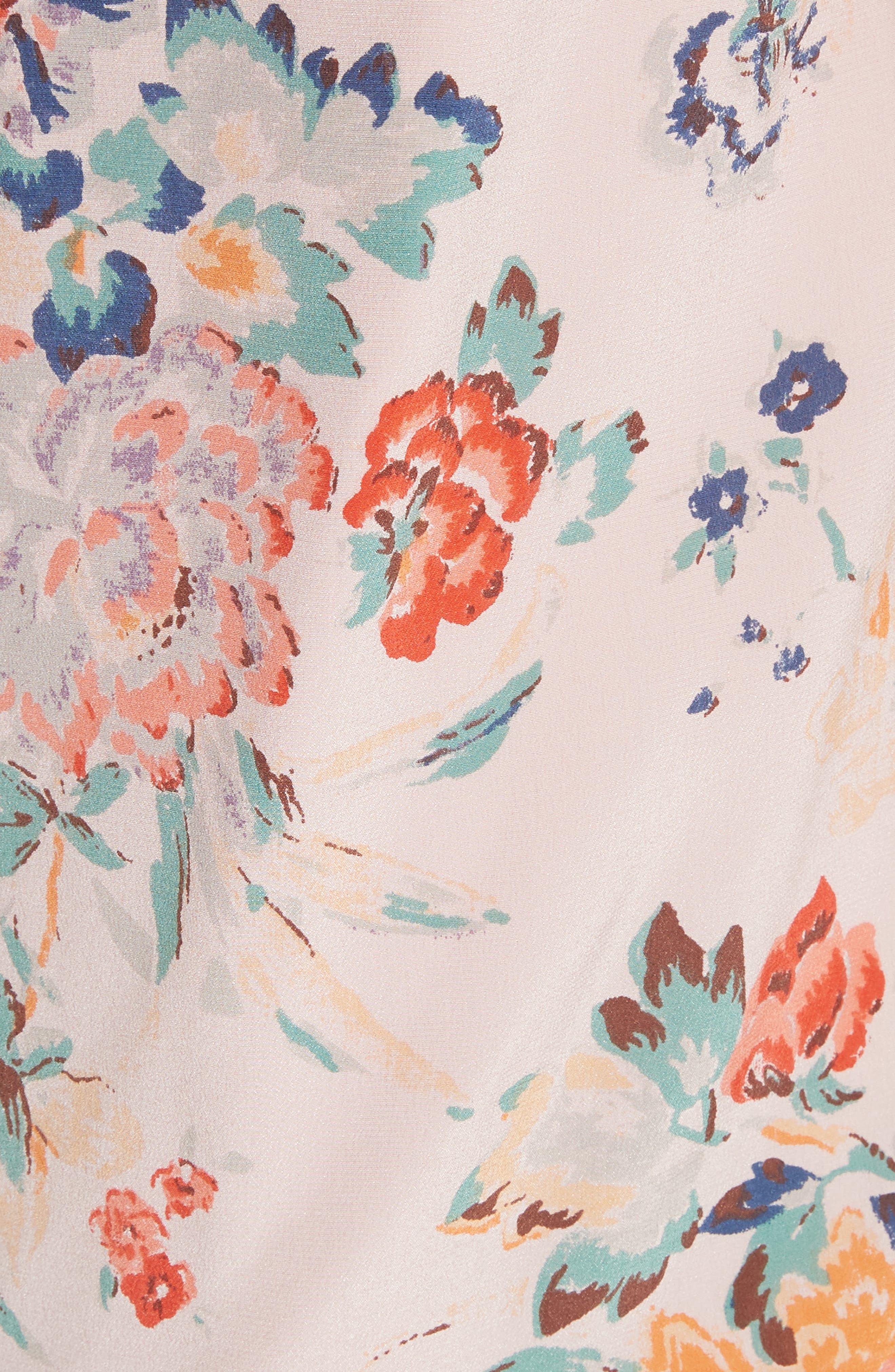Marlena Floral Silk Tank,                             Alternate thumbnail 5, color,                             Dusty Rose Combo