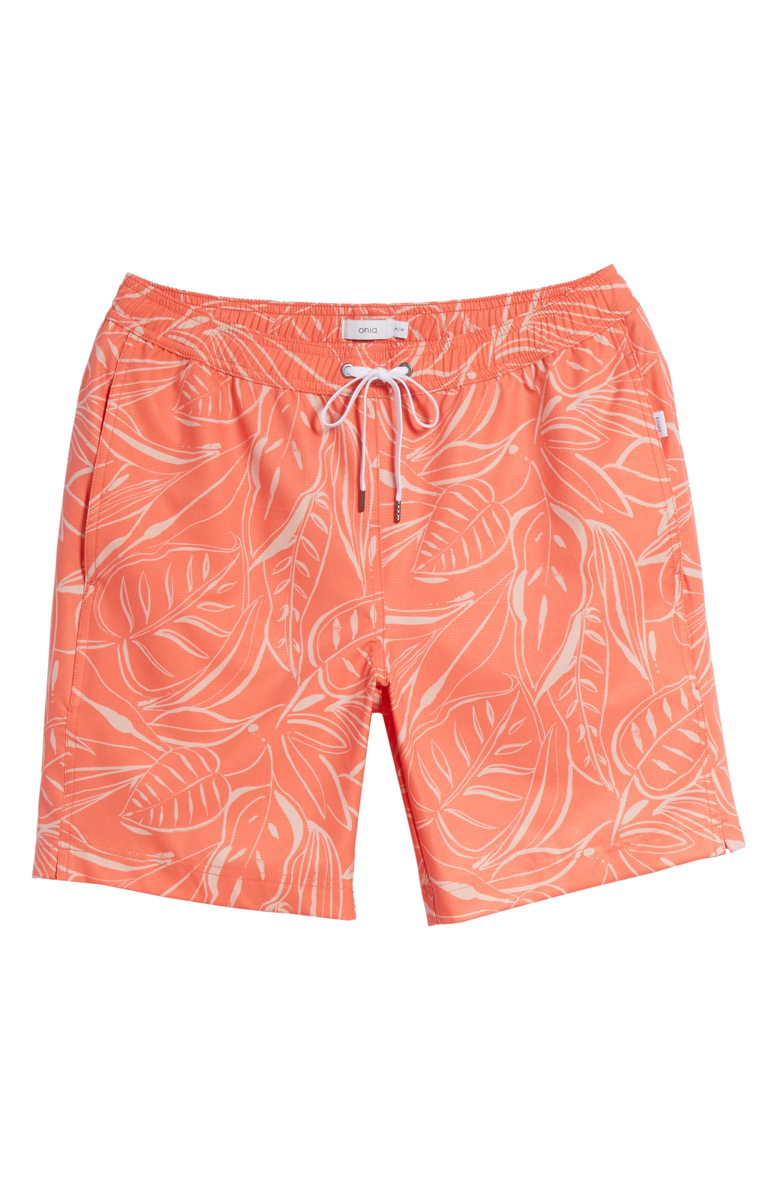 Charles Leaf Print Swim Trunks,                             Alternate thumbnail 6, color,                             Tangerine Coral
