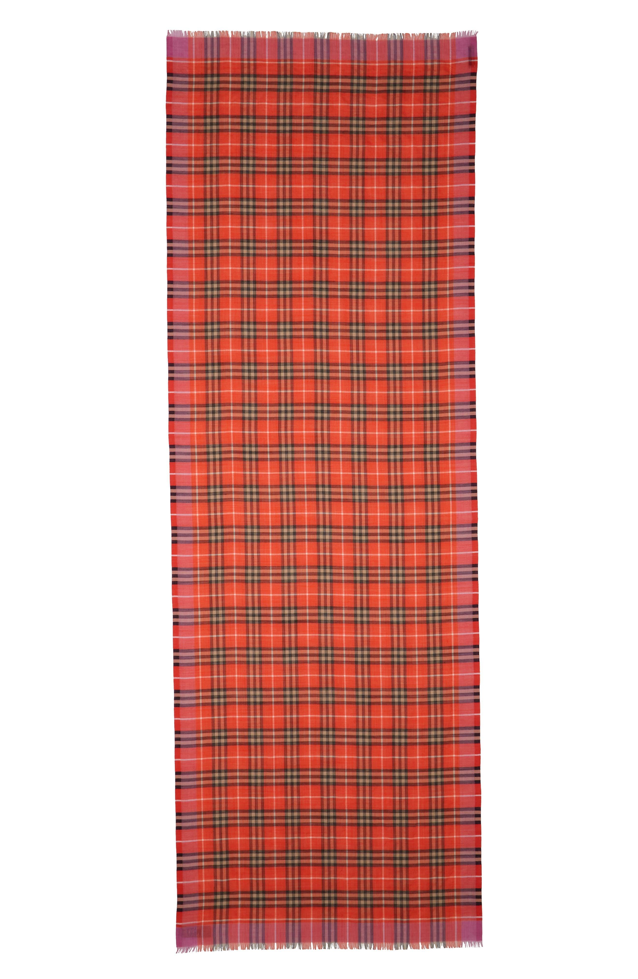 Border Vintage Check Wool & Silk Scarf,                             Alternate thumbnail 2, color,                             Orange Red
