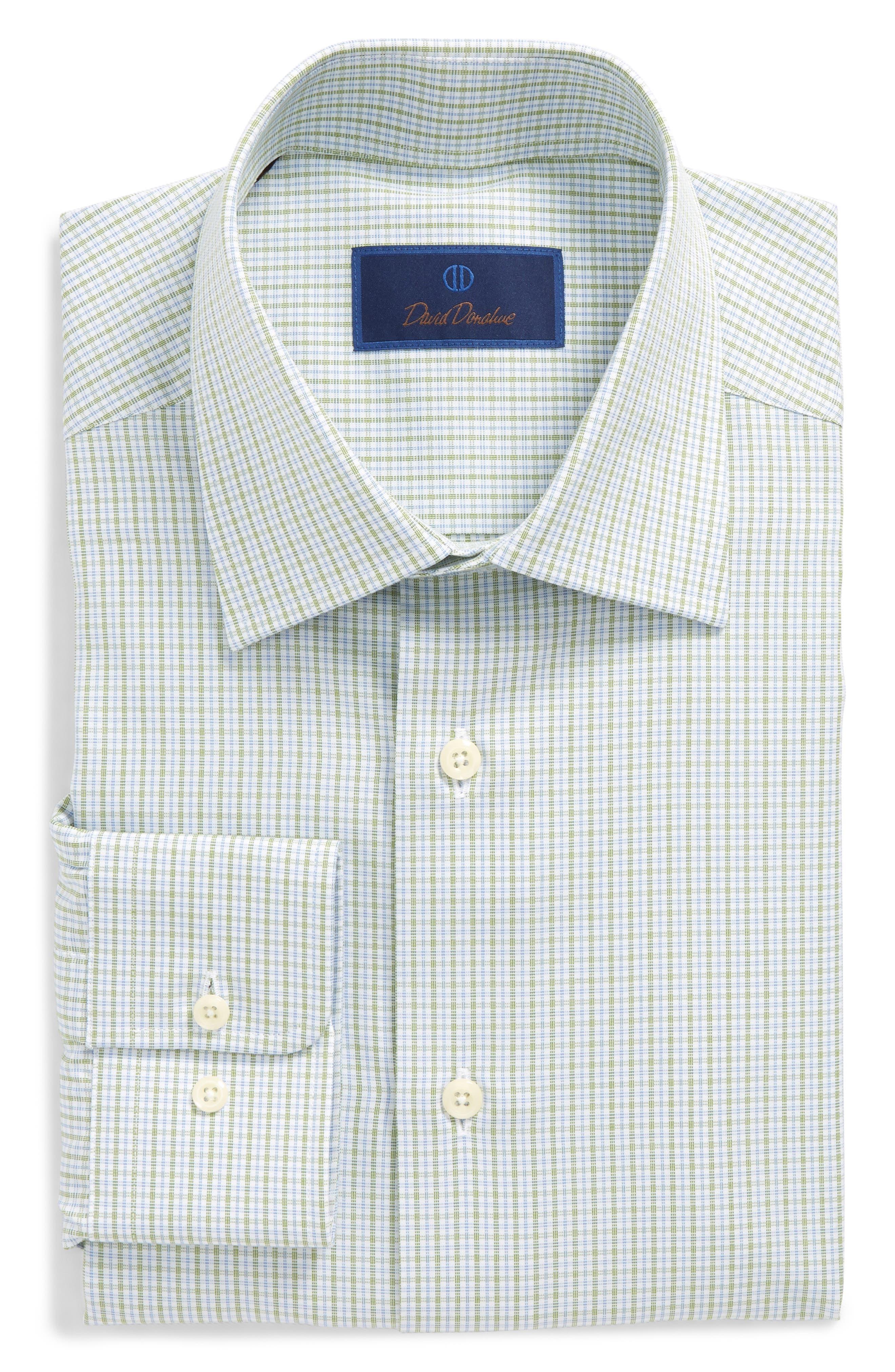Regular Fit Check Dress Shirt,                             Main thumbnail 1, color,                             Grass