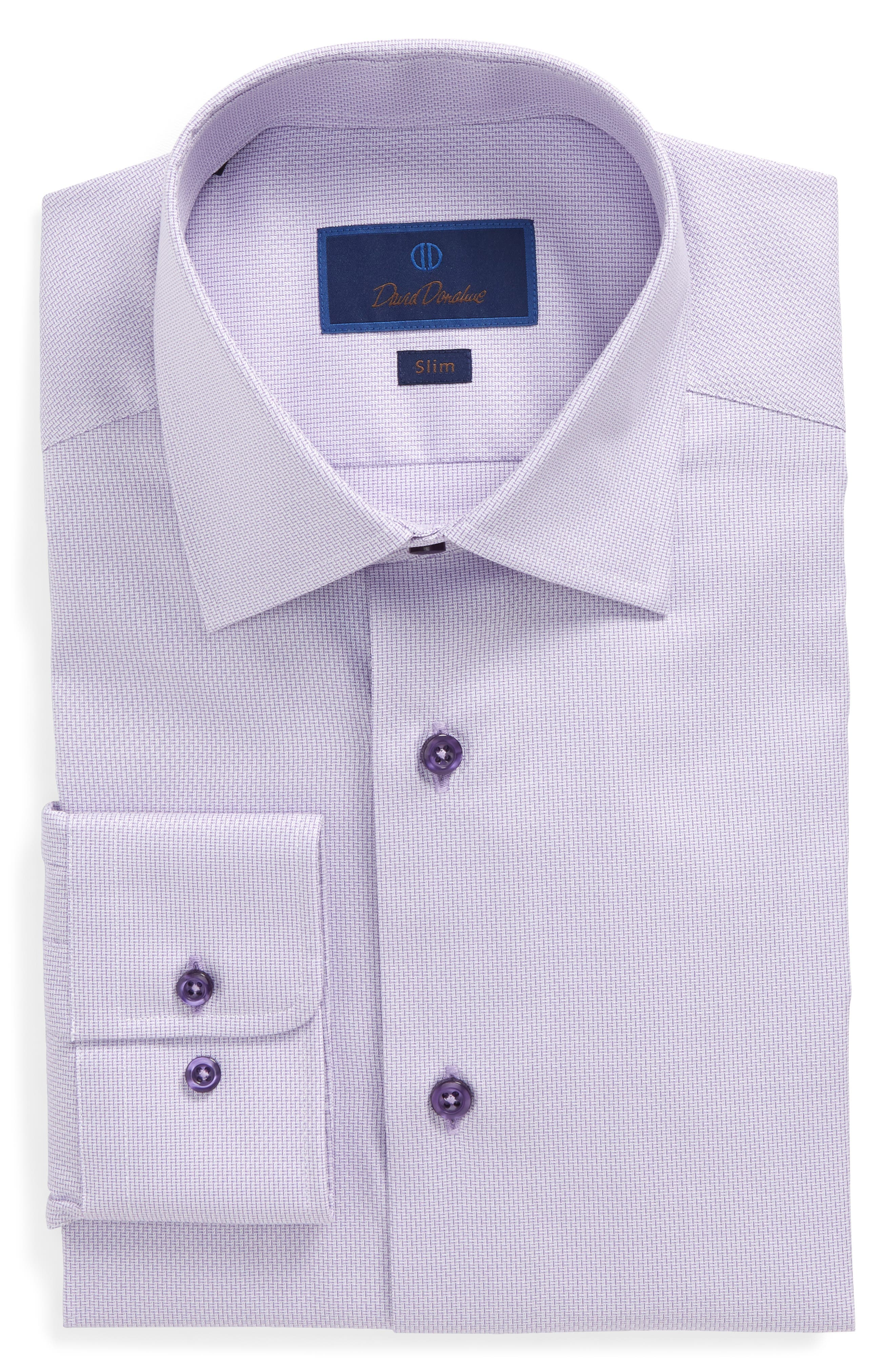 Slim Fit Solid Dress Shirt,                         Main,                         color, Lilac