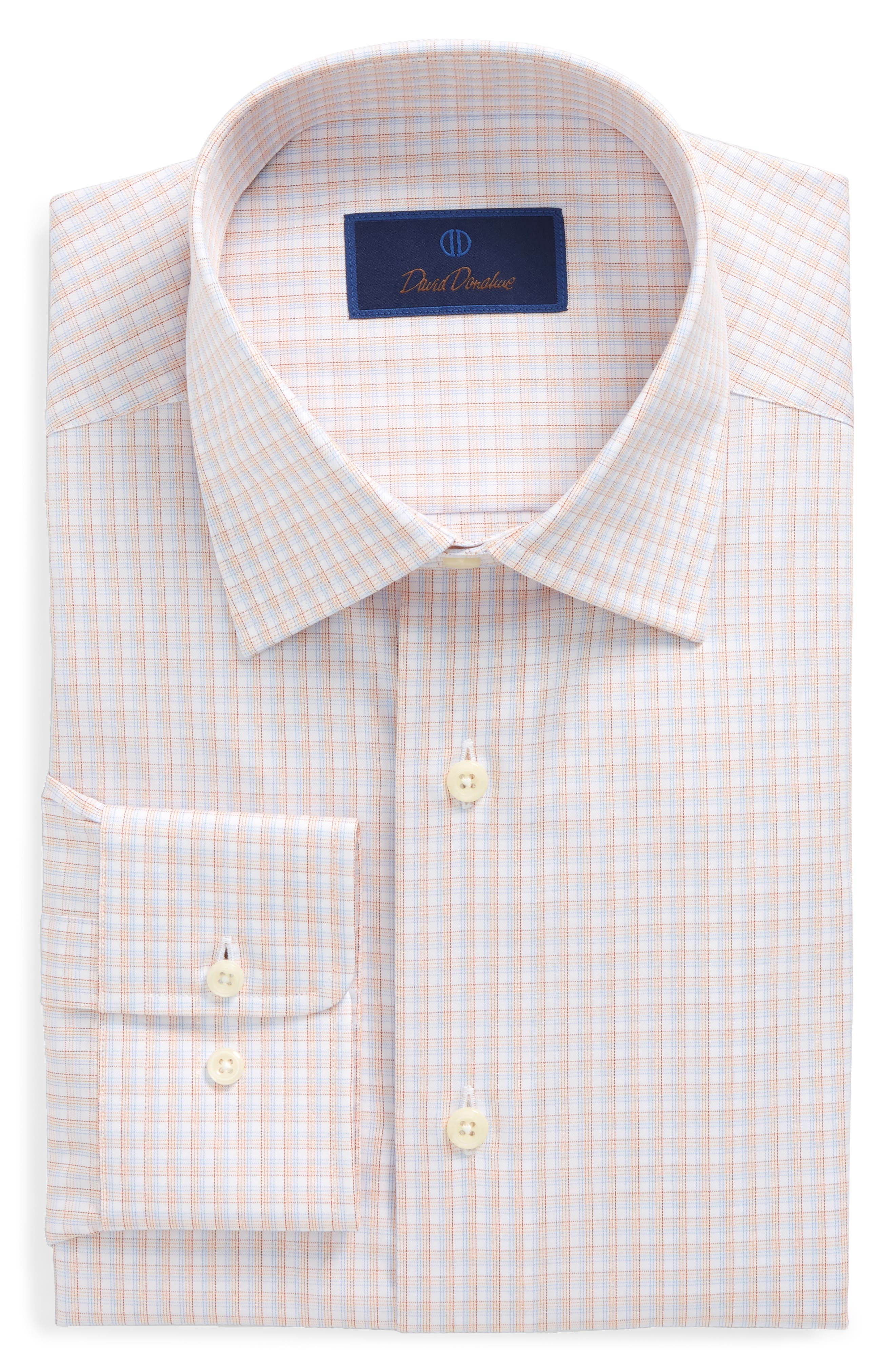 David Donahue Regular Fit Check Dress Shirt