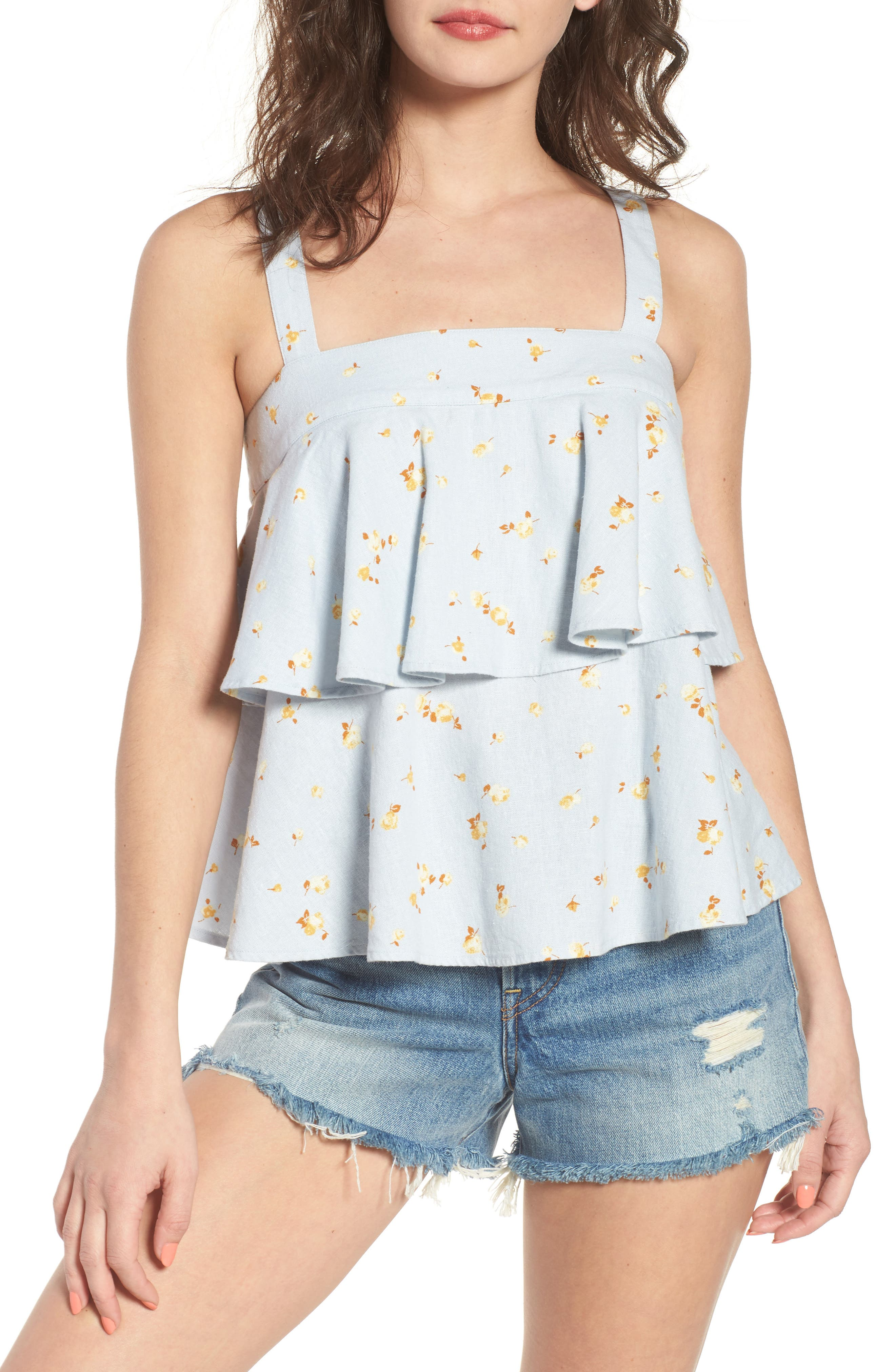 Tie Back Tiered Linen Blend Top,                         Main,                         color, Blue Ice Scattered Blooms