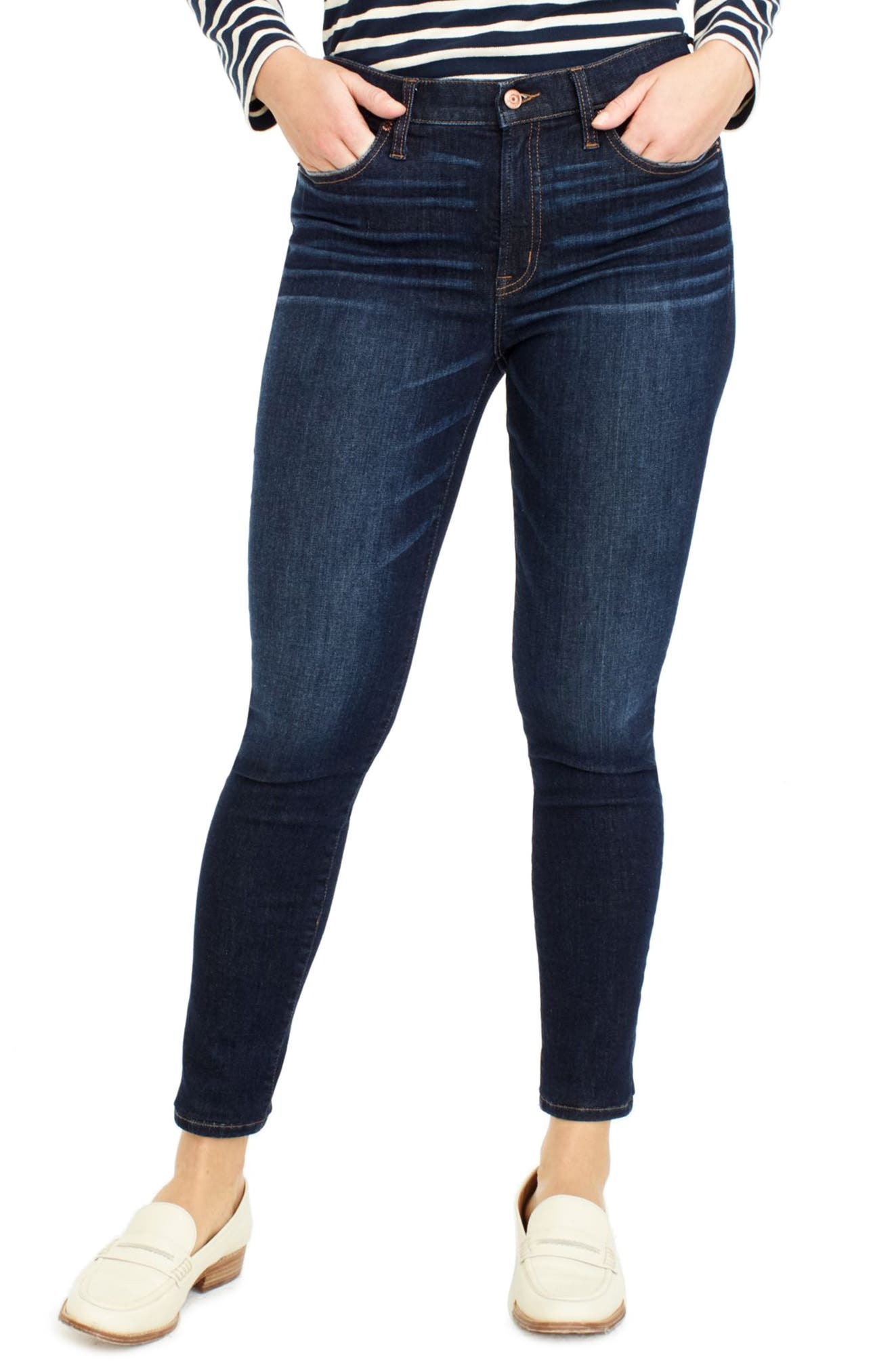 J.Crew High Rise Toothpick Jeans,                             Main thumbnail 1, color,                             Solano Wash