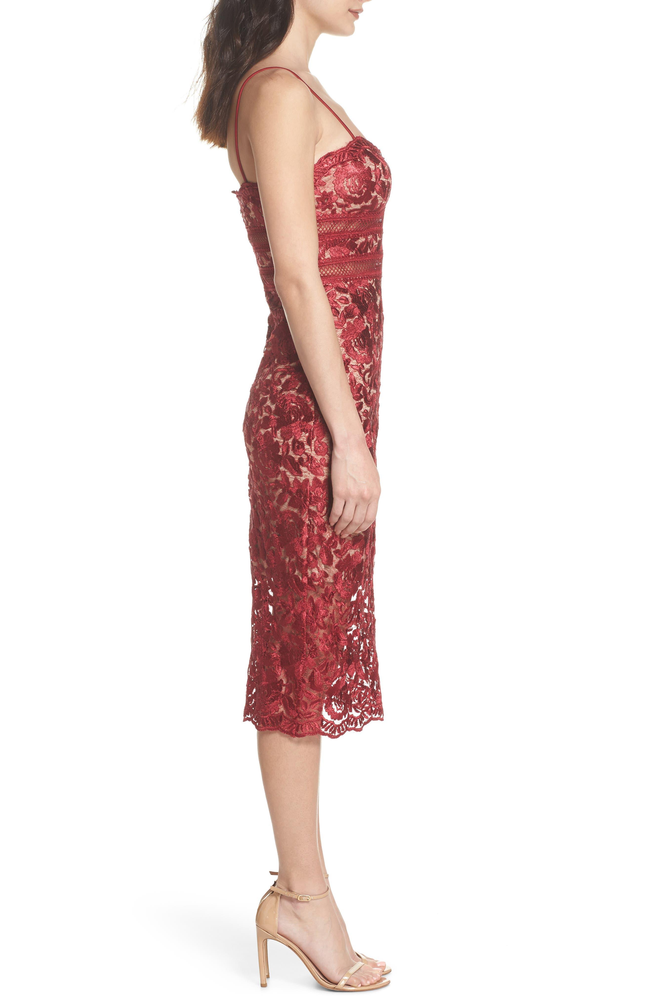 Lace Midi Dress,                             Alternate thumbnail 3, color,                             Red/ Mocha