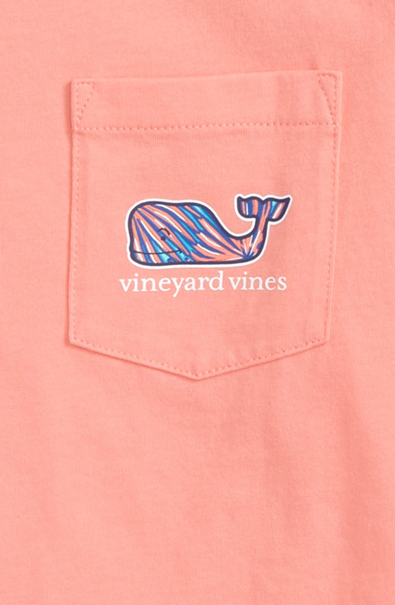 Palm Whale Pocket T-Shirt,                             Alternate thumbnail 3, color,                             Bright Peach