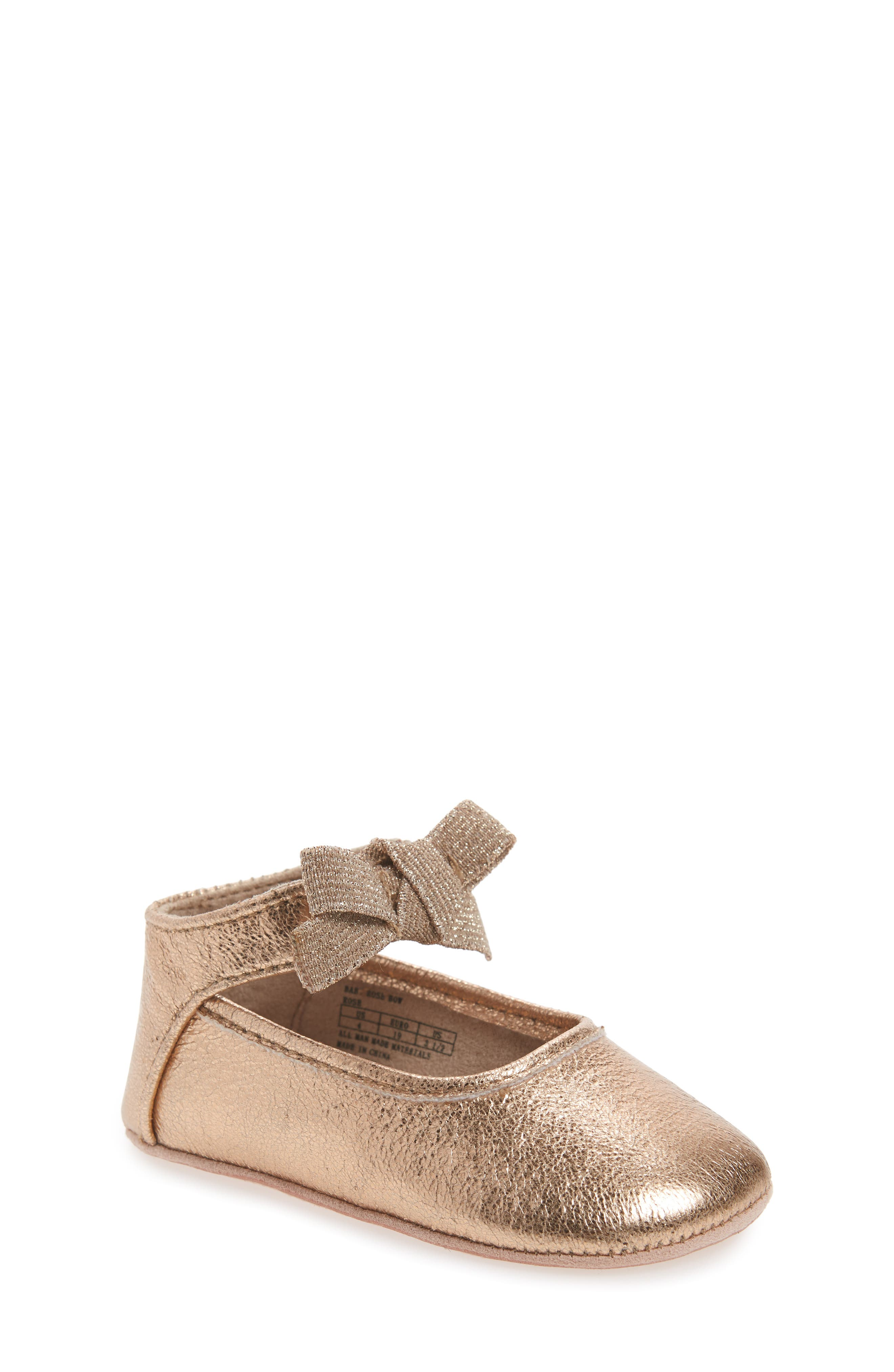 Main Image - Kenneth Cole New York Rose Bow Metallic Ballet Flat (Baby)