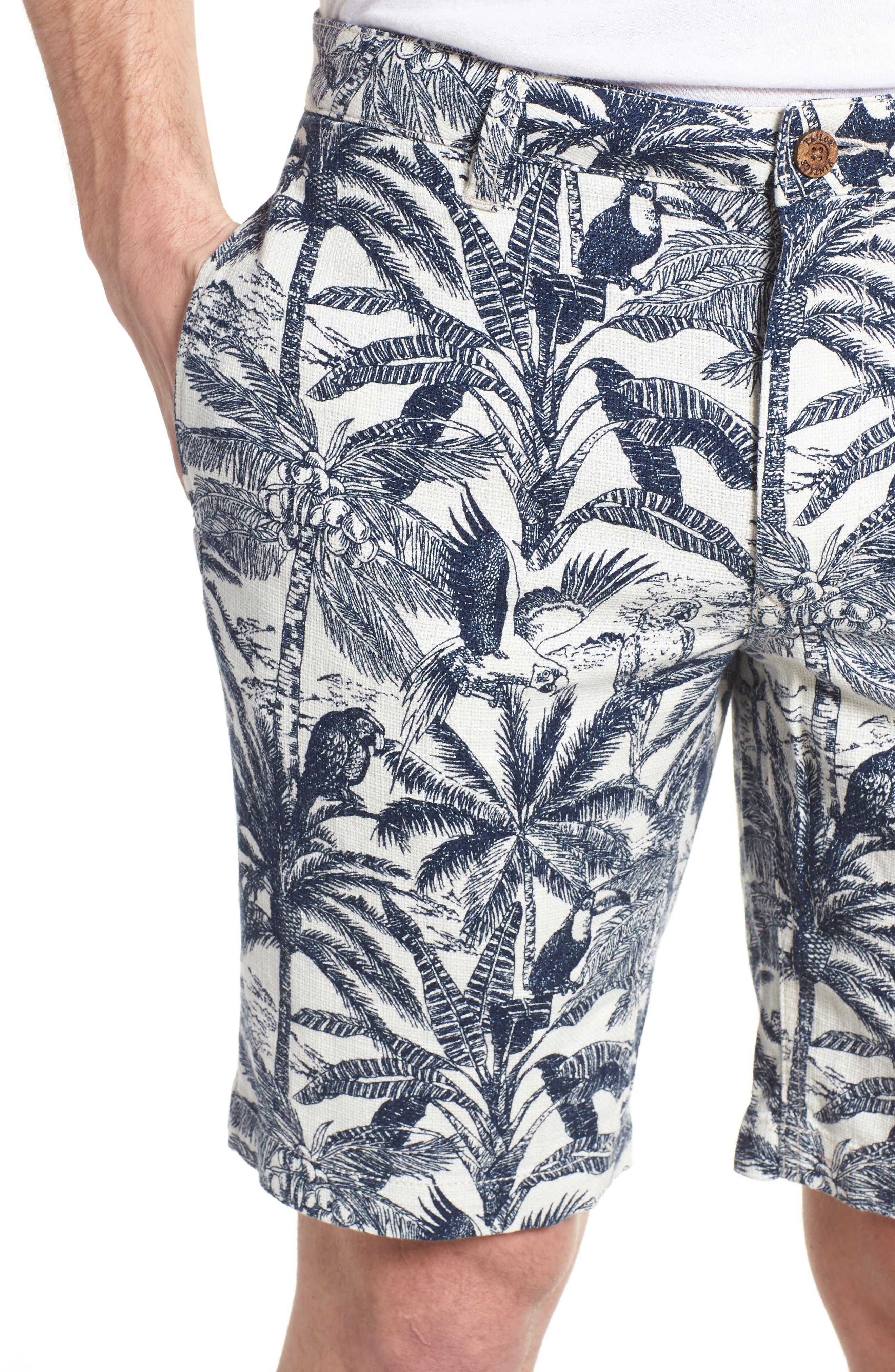 Cotton & Linen Shorts,                             Alternate thumbnail 4, color,                             White Palm Parrot Print