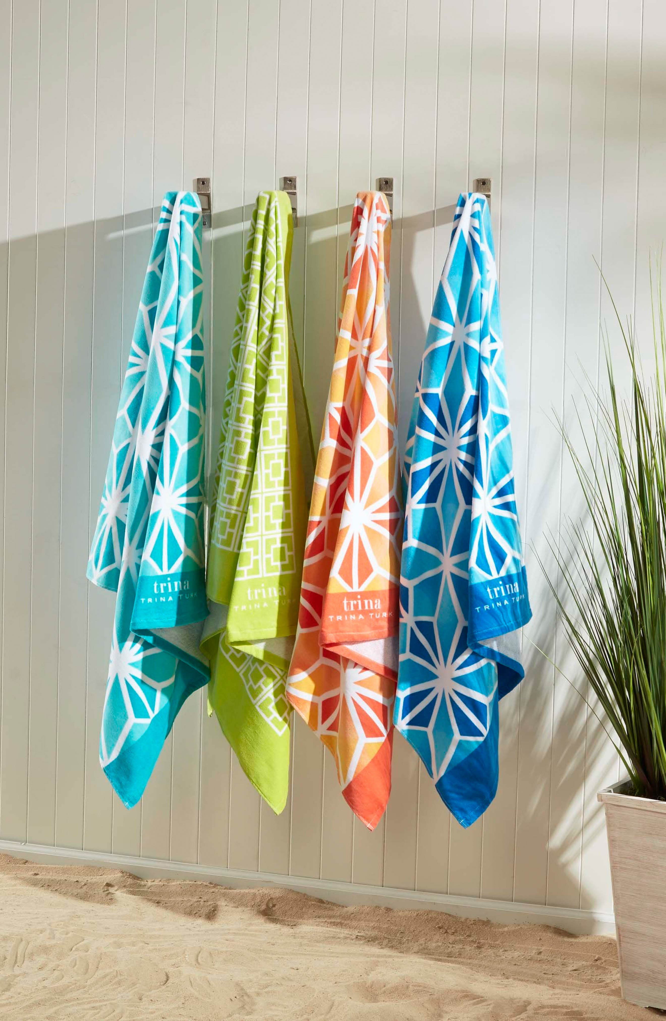 Palm Spring Block Beach Towel,                             Alternate thumbnail 3, color,                             Lime