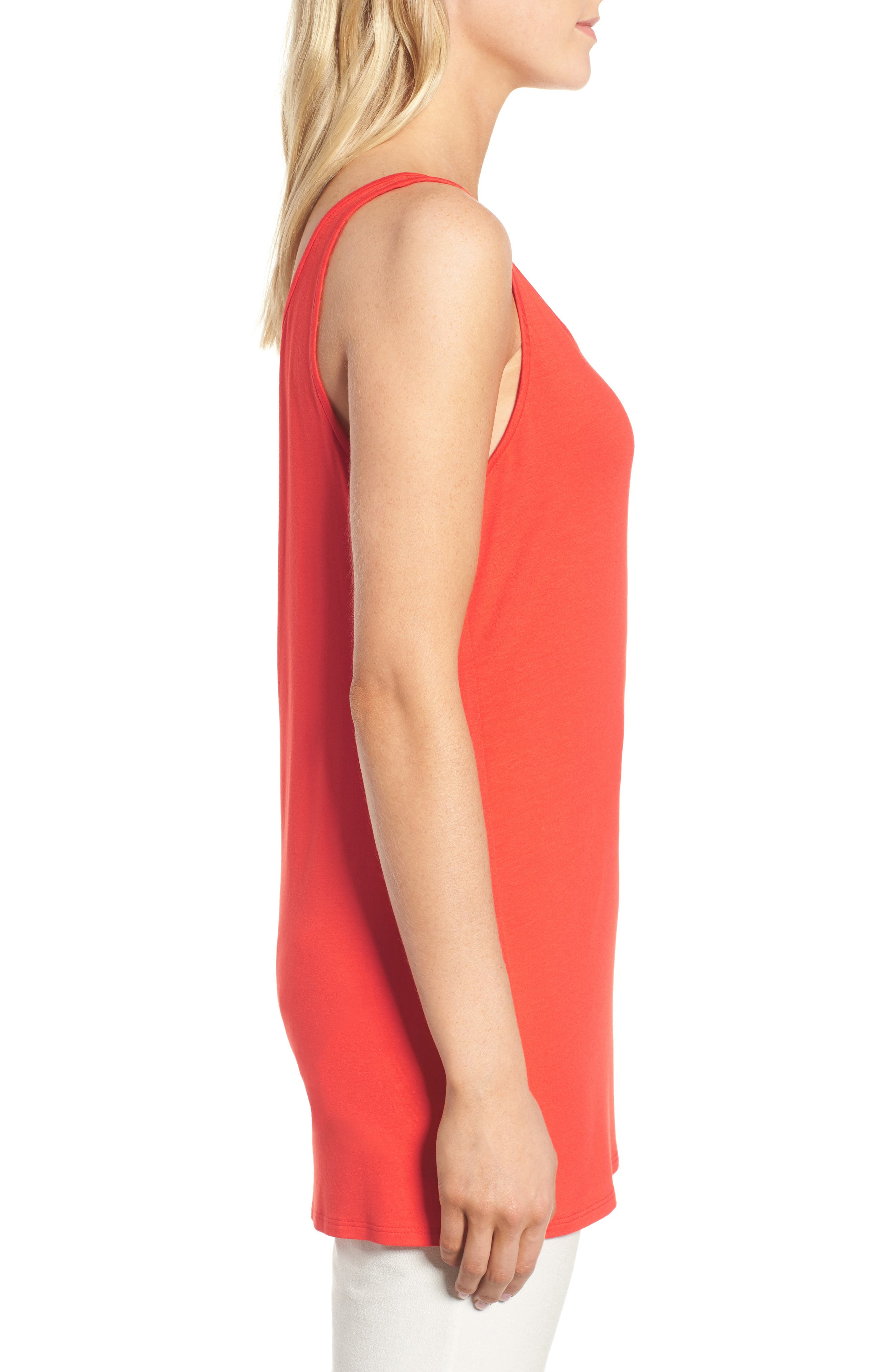 Jersey Scoop Neck Long Tank,                             Alternate thumbnail 3, color,                             Hot Red