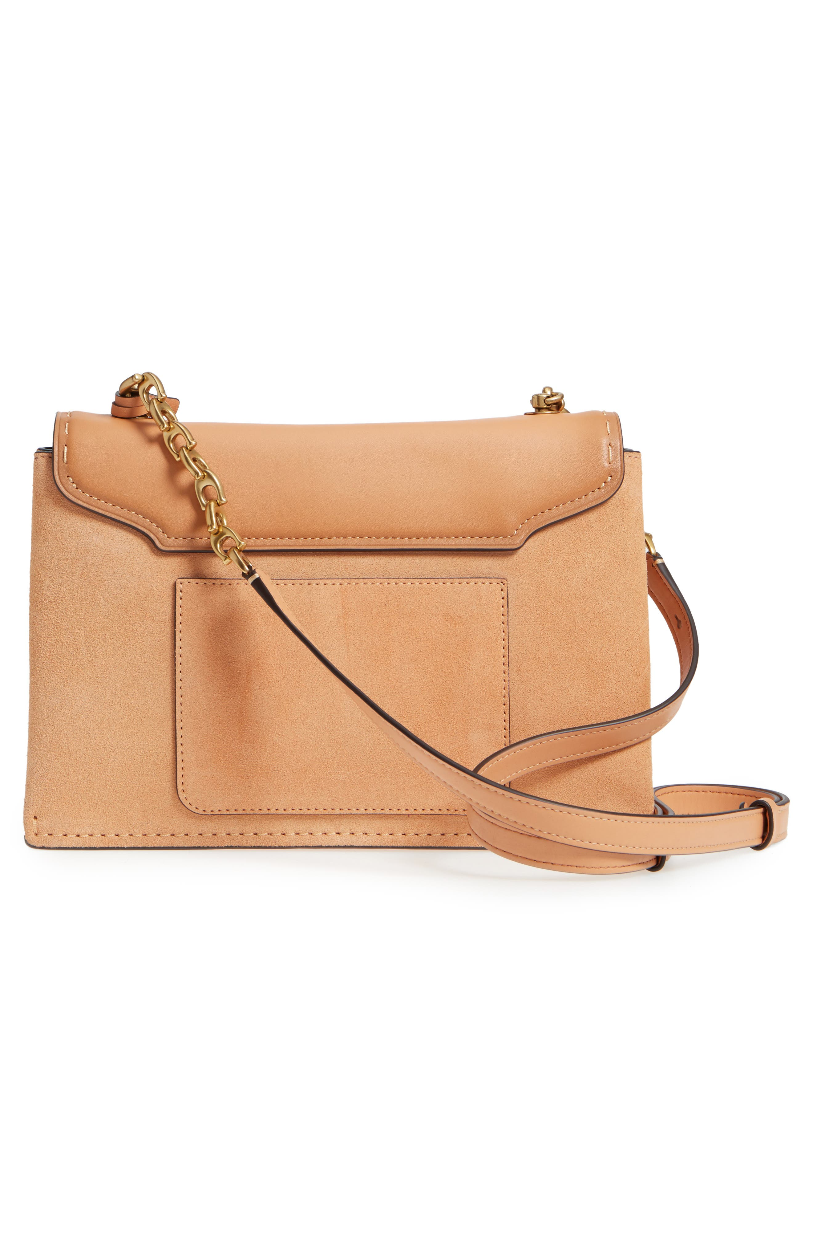 Swagger Chain Leather Crossbody Bag,                             Alternate thumbnail 3, color,                             Apricot Sand