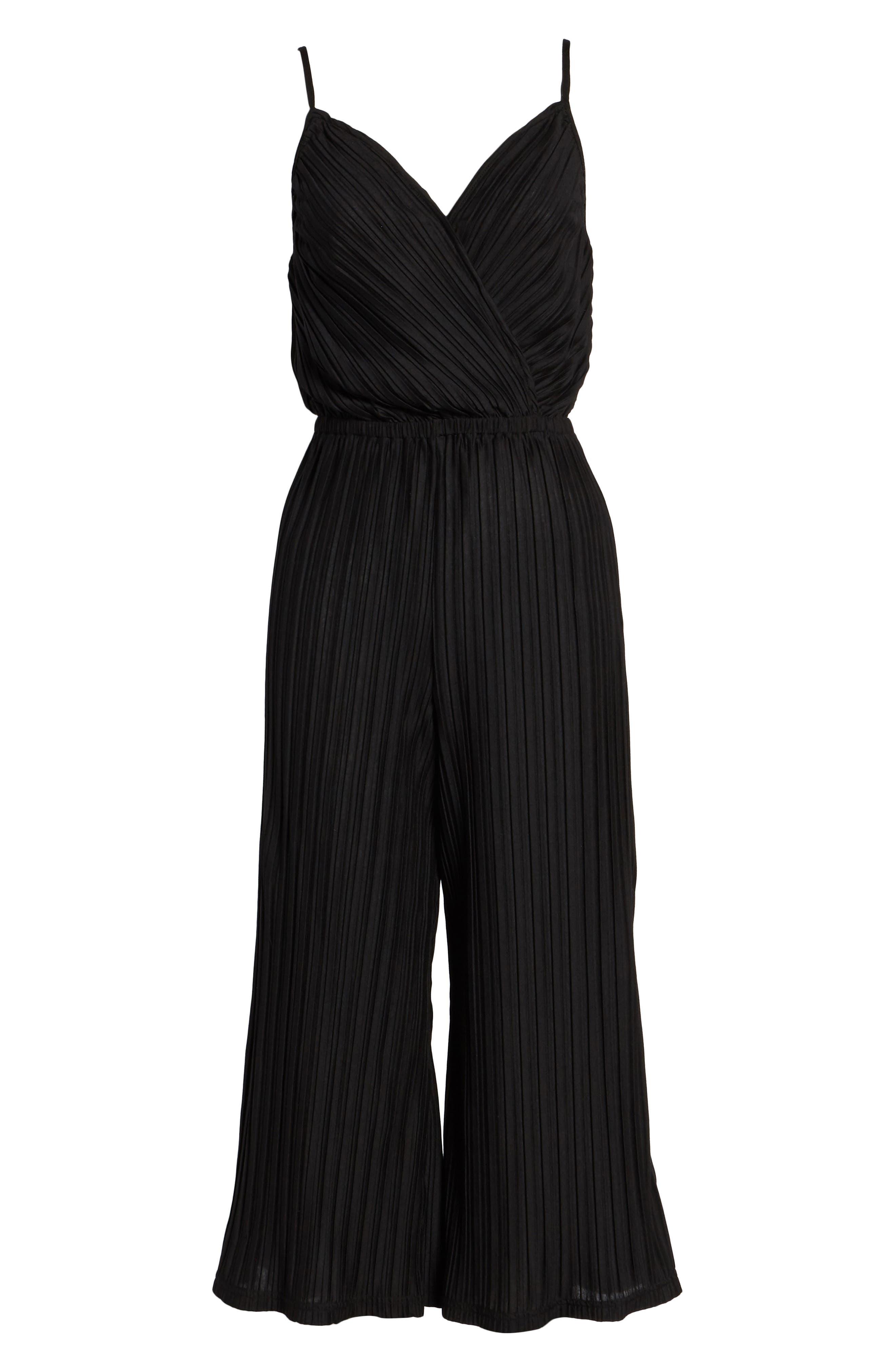 Austine Pleated Jumpsuit,                             Alternate thumbnail 6, color,                             Black
