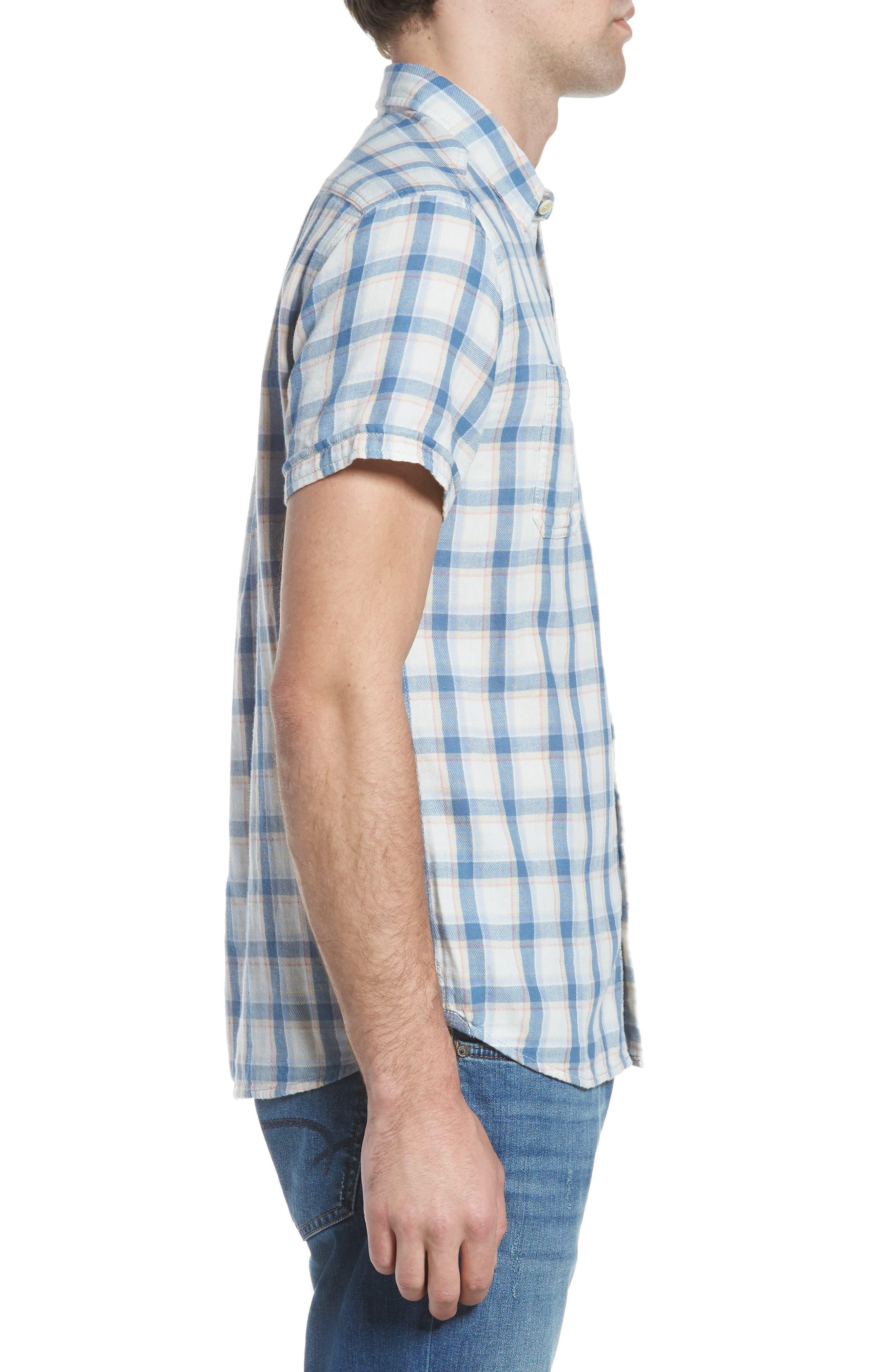 Larson Short Sleeve Sport Shirt,                             Alternate thumbnail 4, color,                             Cream Blue Plaid
