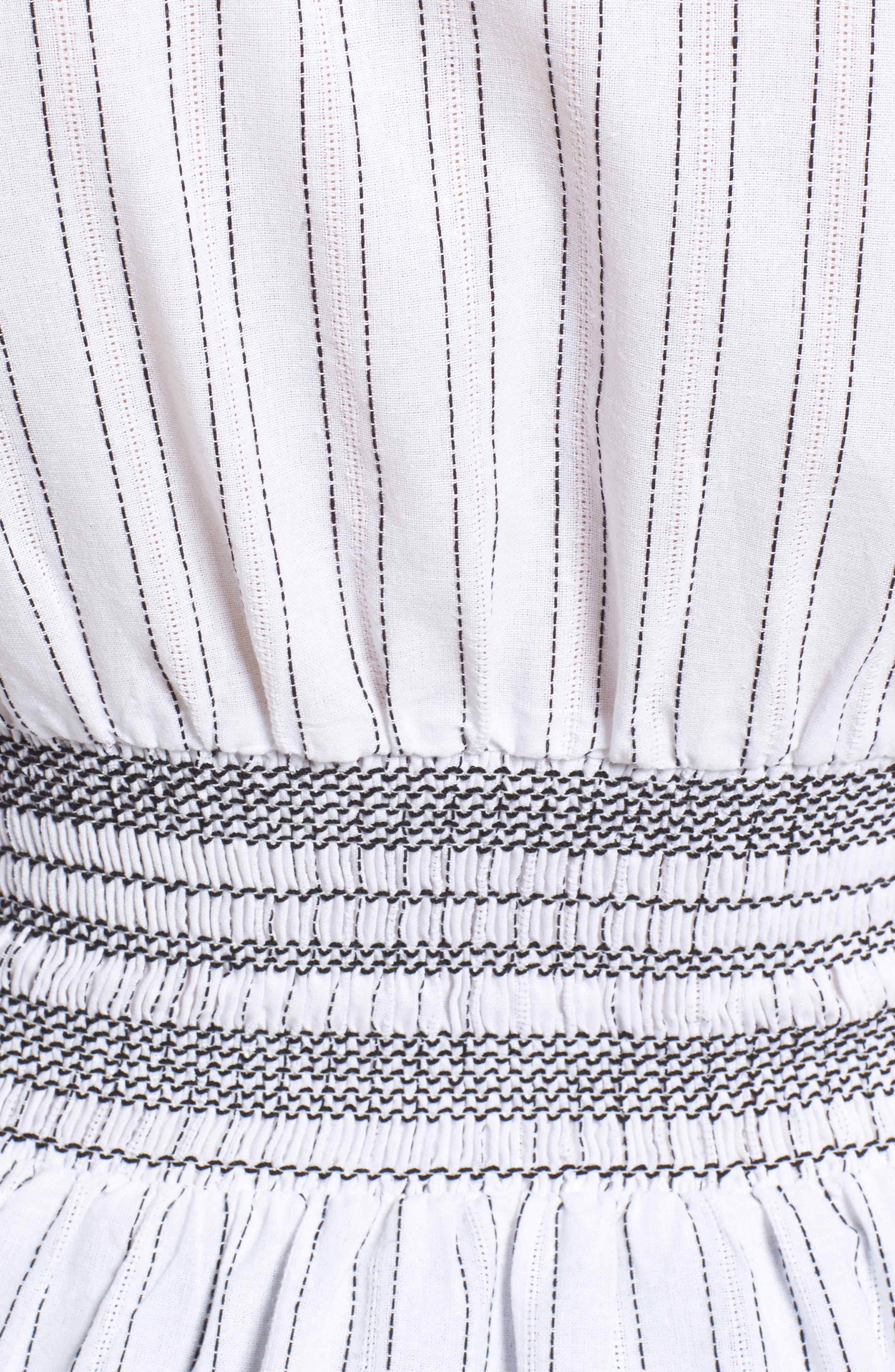 Stripe Peplum Top,                             Alternate thumbnail 6, color,                             Ivory/ Black