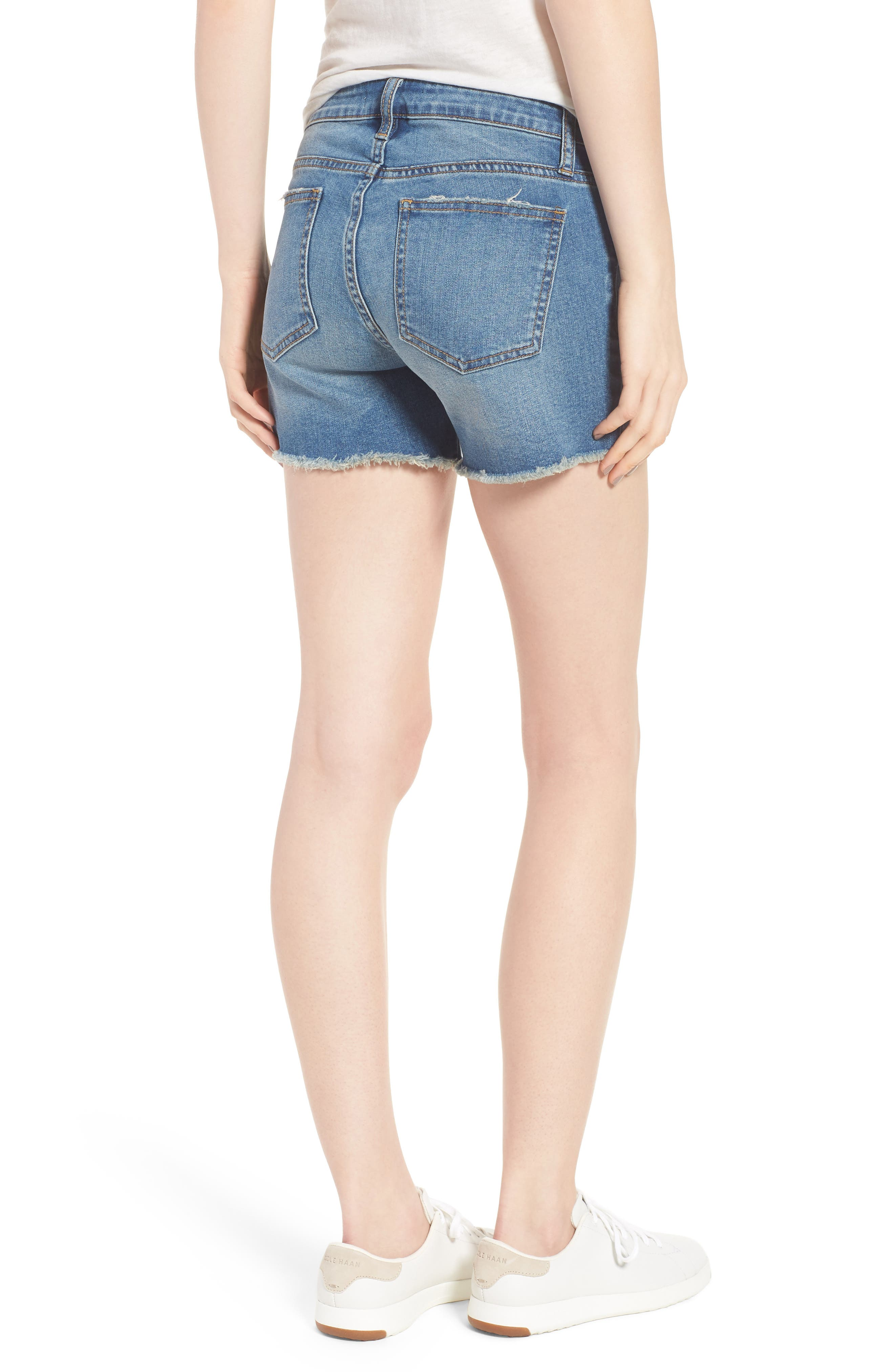 Embroidered Denim Shorts,                             Alternate thumbnail 2, color,                             Blue W/ Embroider