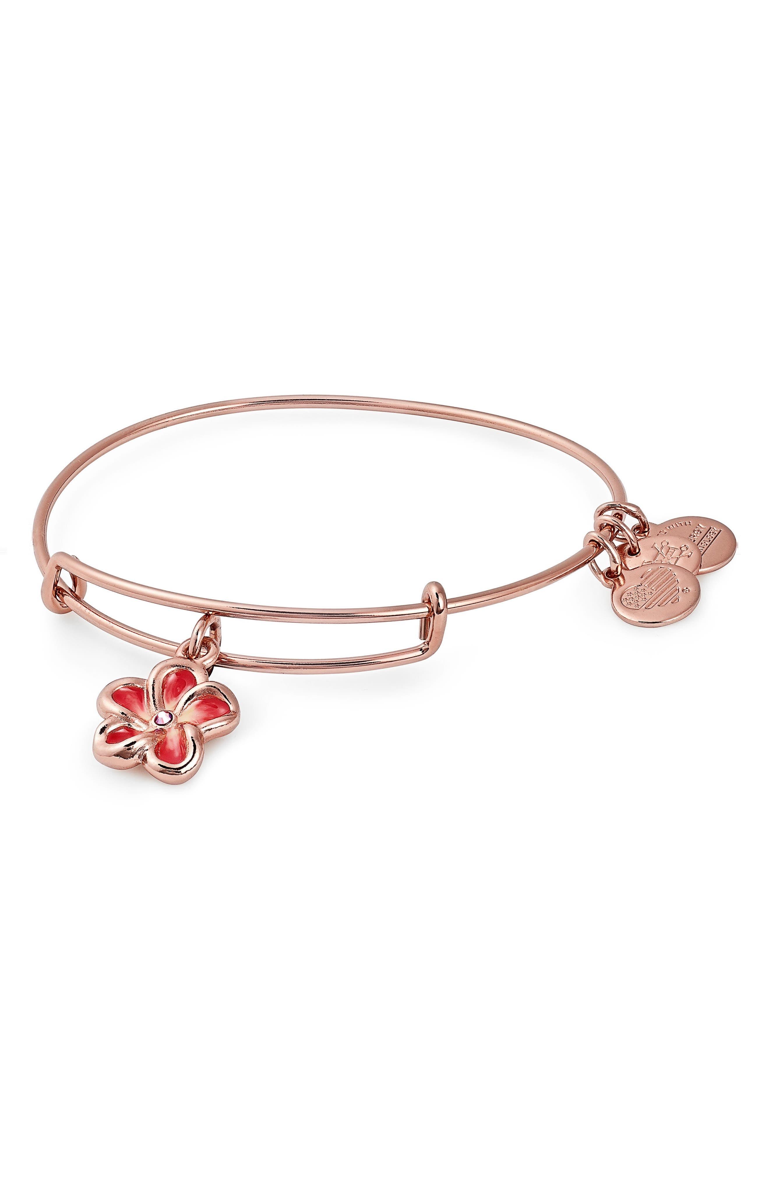 Alex and Ani Tropical Flower Color Infusion Expandable Charm Bracelet