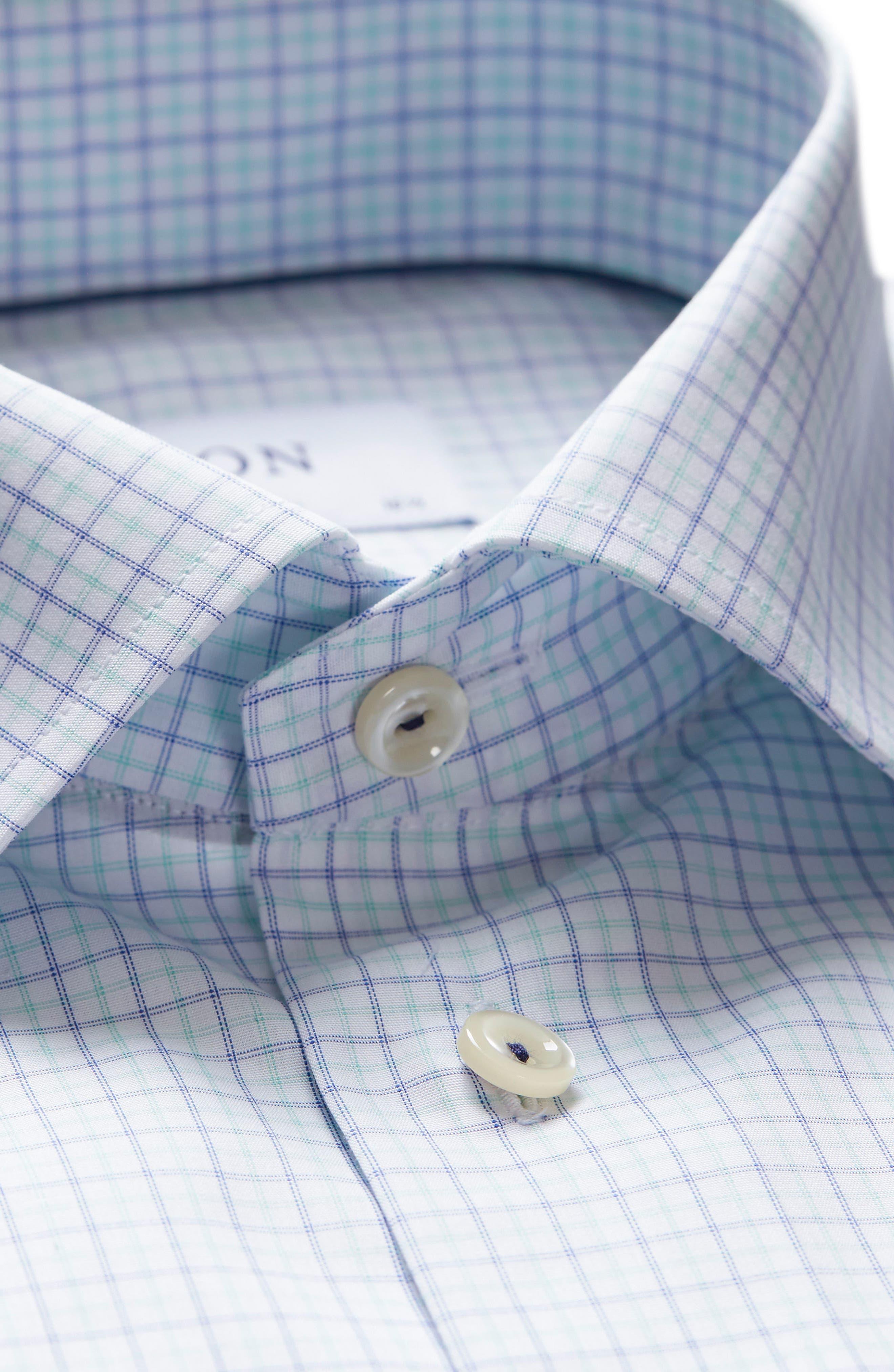 Slim Fit Check Dress Shirt,                             Alternate thumbnail 5, color,                             Green