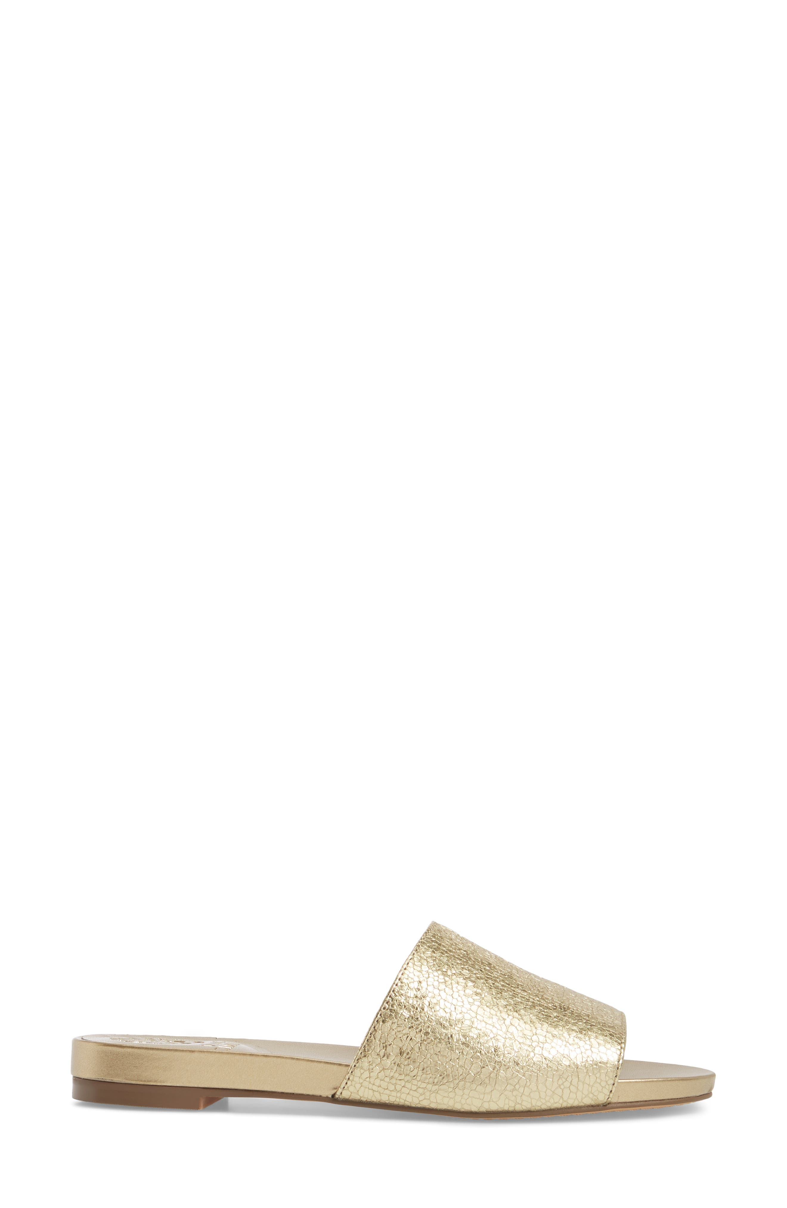 Haydan Slide Sandal,                             Alternate thumbnail 3, color,                             Karat Gold Fabric