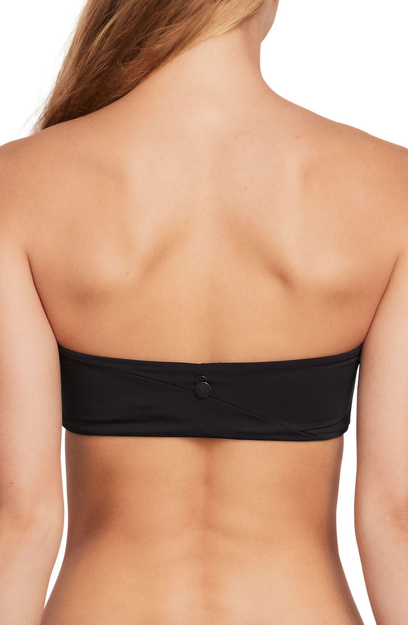 Simple Seamless Baseau Bikini Top,                             Alternate thumbnail 2, color,                             Black