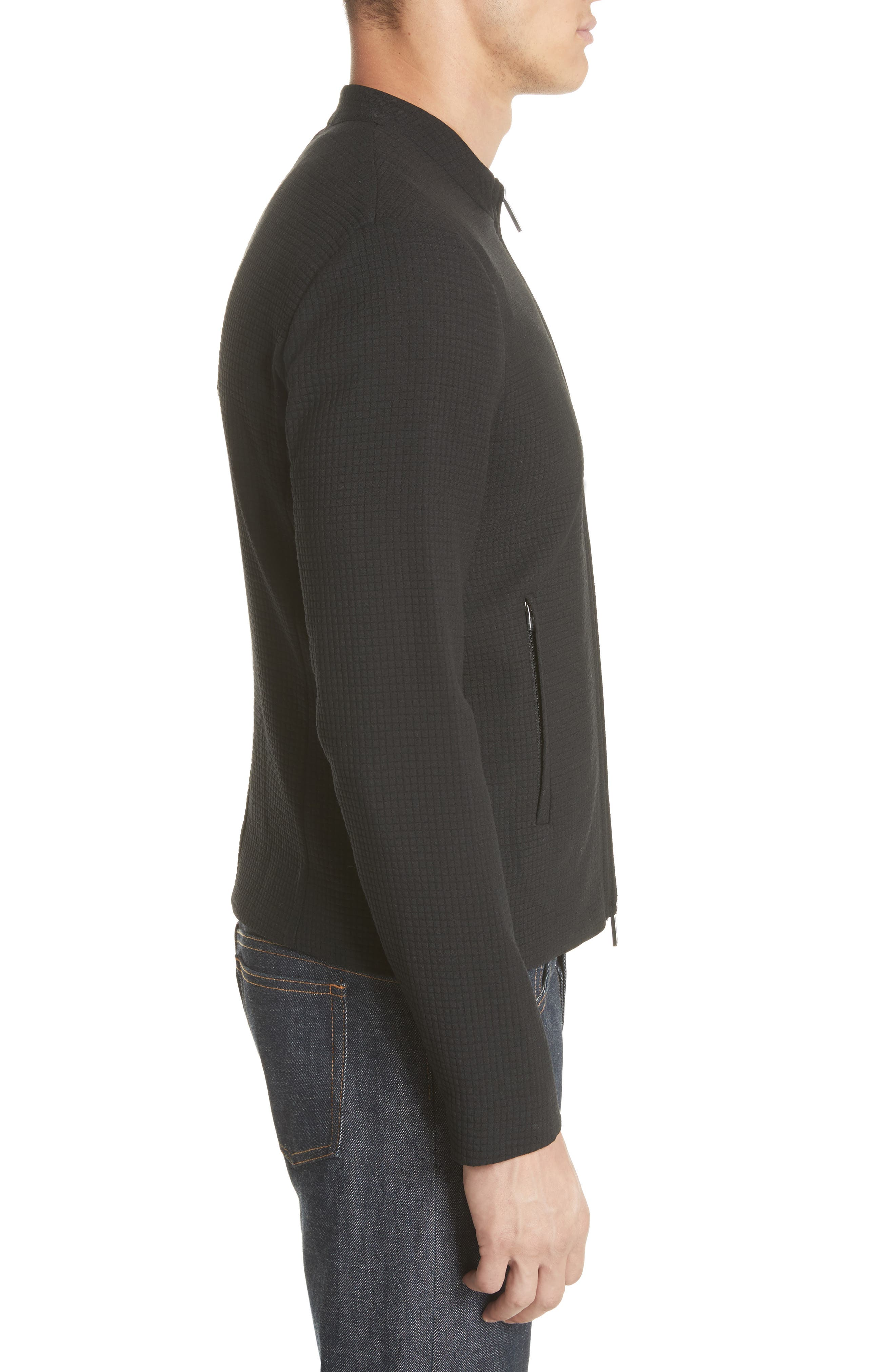 Ripstop Check Wool Blend Jacket,                             Alternate thumbnail 3, color,                             Nero