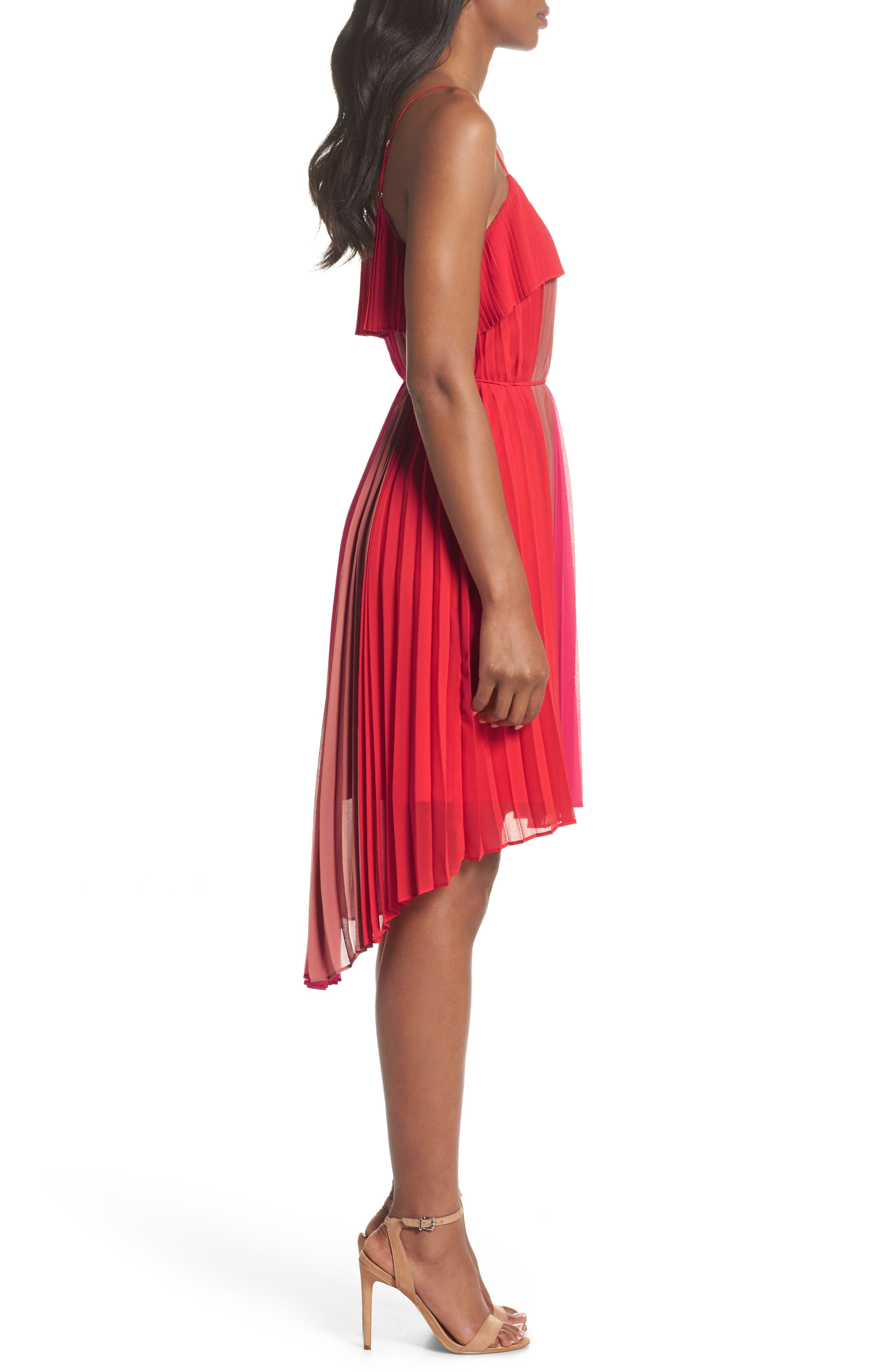 Pepper Pleated Dress,                             Alternate thumbnail 3, color,                             Red Multi
