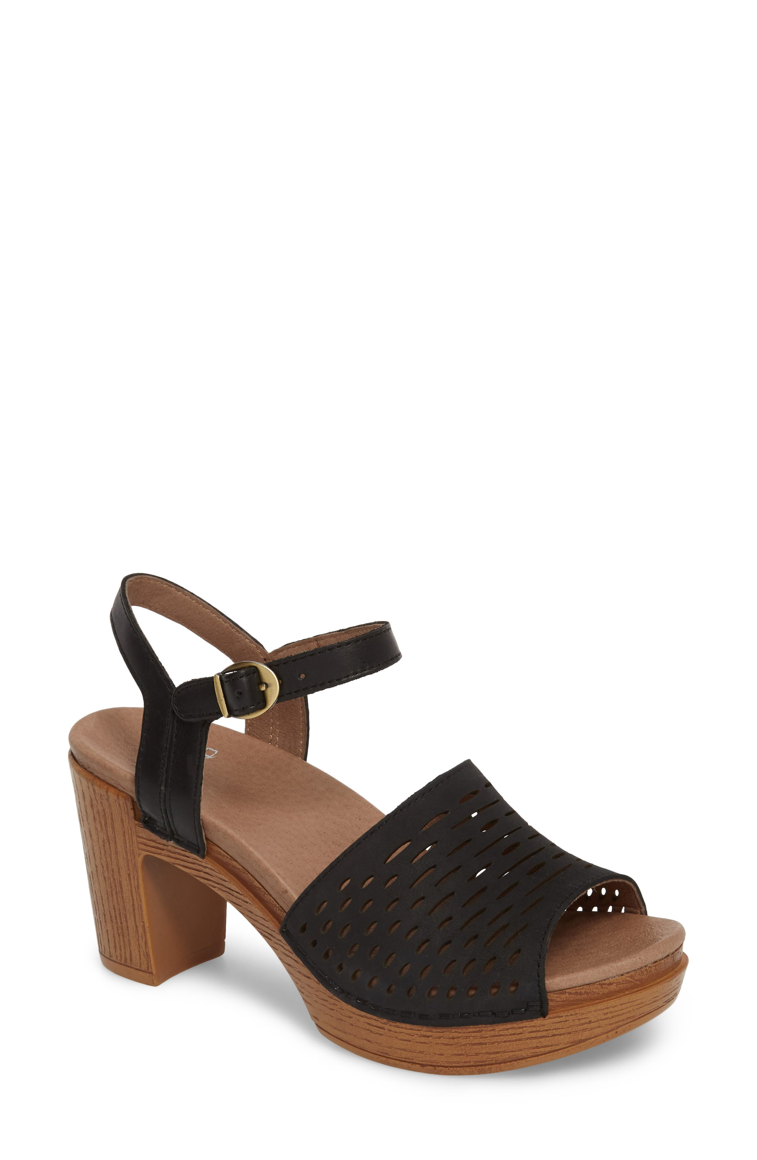 Denita Block Heel Sandal,                             Main thumbnail 1, color,                             Black Milled Nubuck Leather
