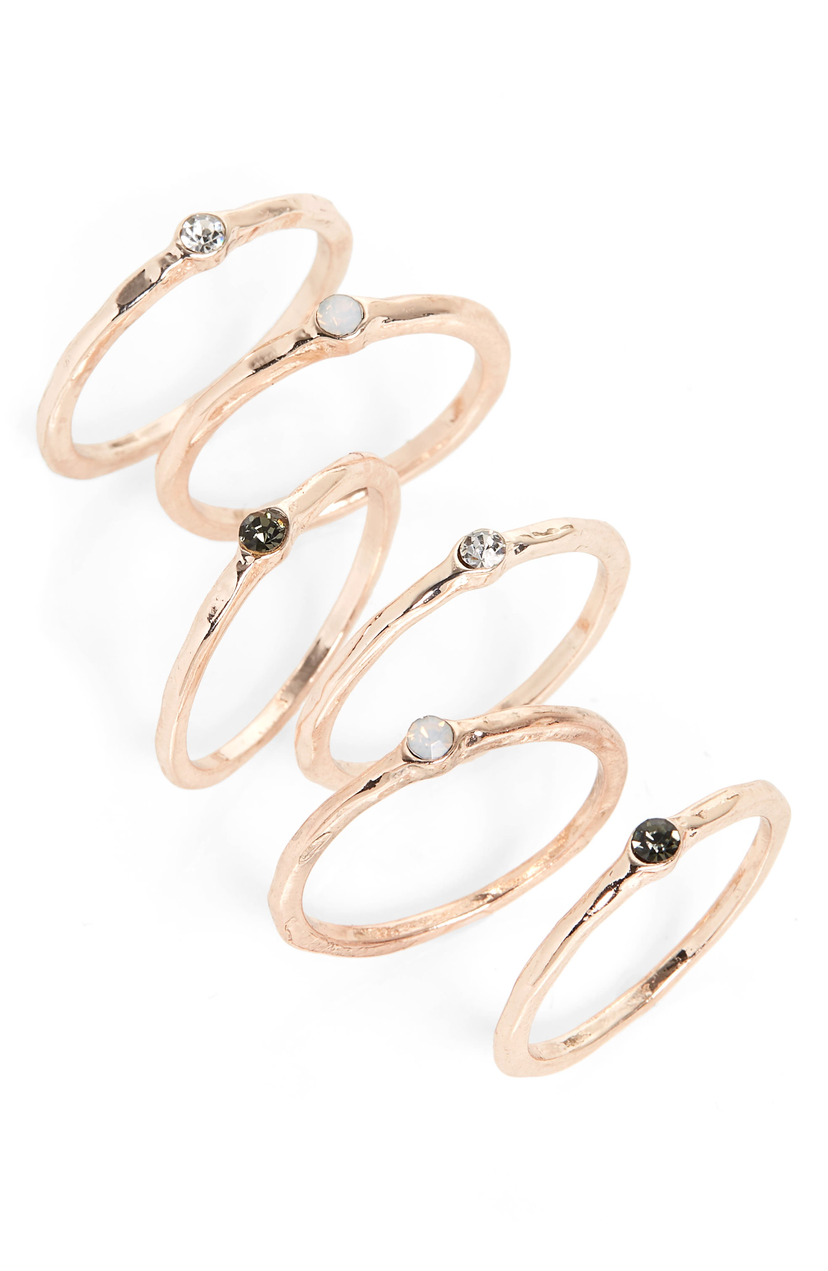 Set of 6 Stack Rings,                         Main,                         color, Grey