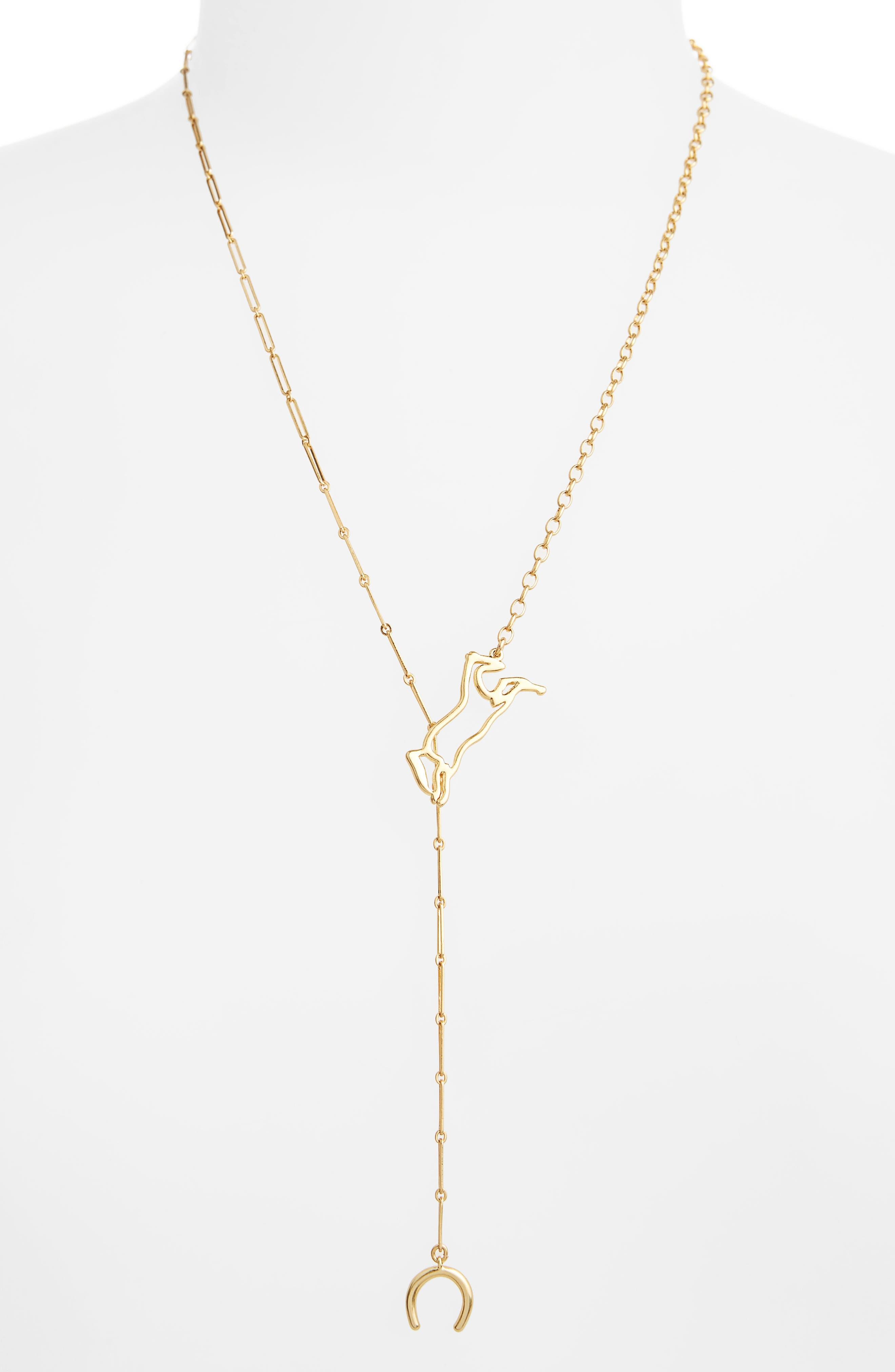 Horse Shoe Necklace,                             Main thumbnail 1, color,                             Vintage Gold
