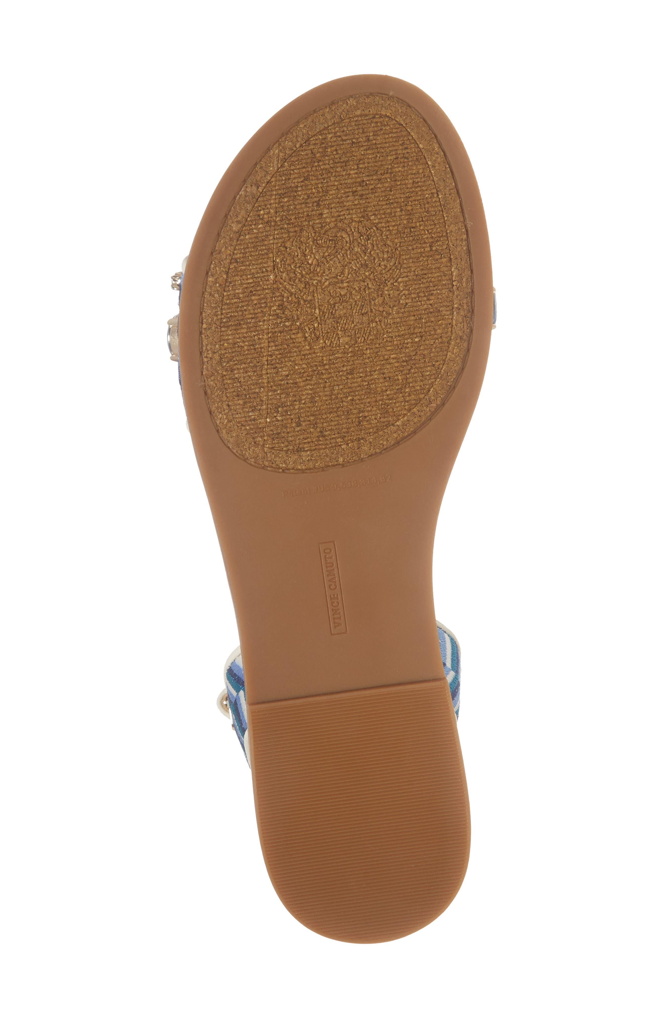 Akitta Sandal,                             Alternate thumbnail 6, color,                             Blue Multi/ Vanilla Fabric