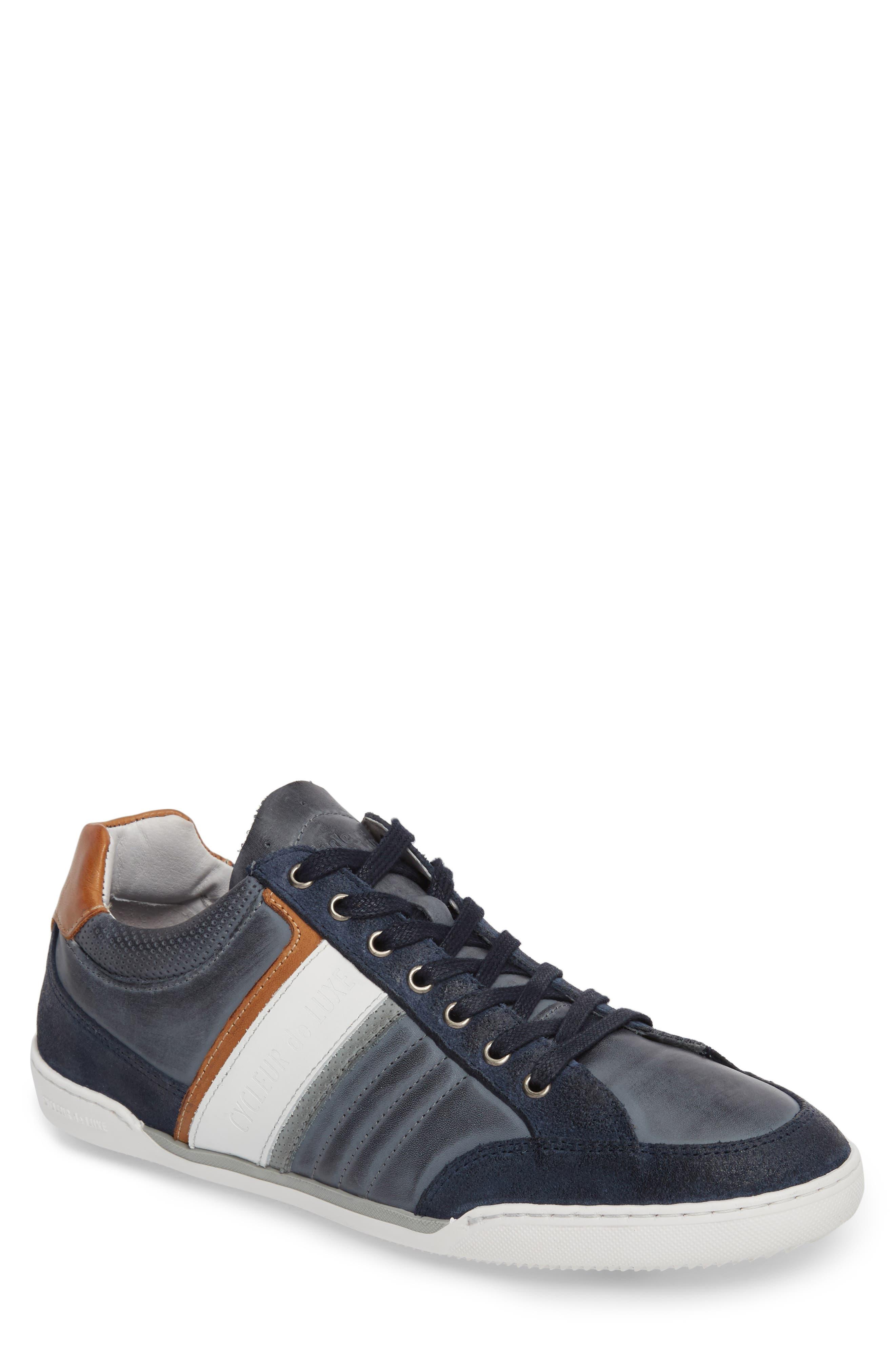 Solo Low Top Sneaker,                             Main thumbnail 1, color,                             Denim/ White/ Cognac Leather
