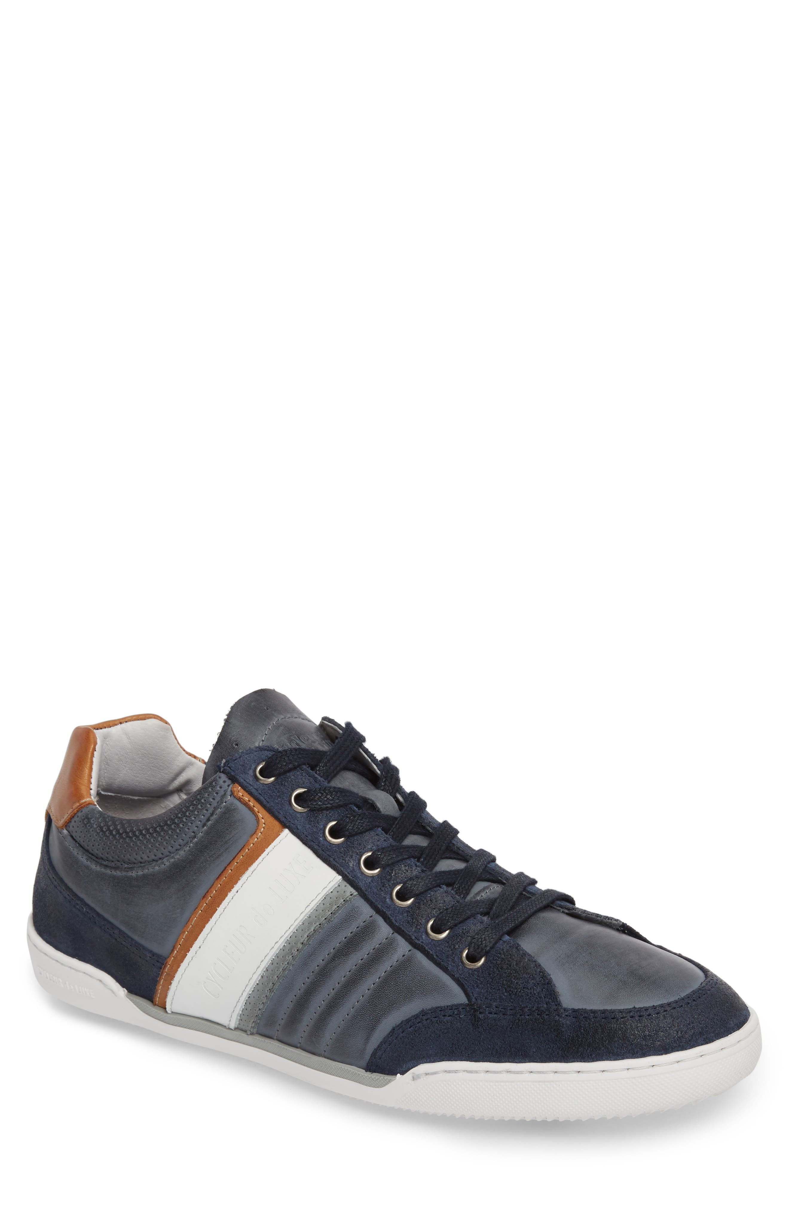 Solo Low Top Sneaker,                         Main,                         color, Denim/ White/ Cognac Leather