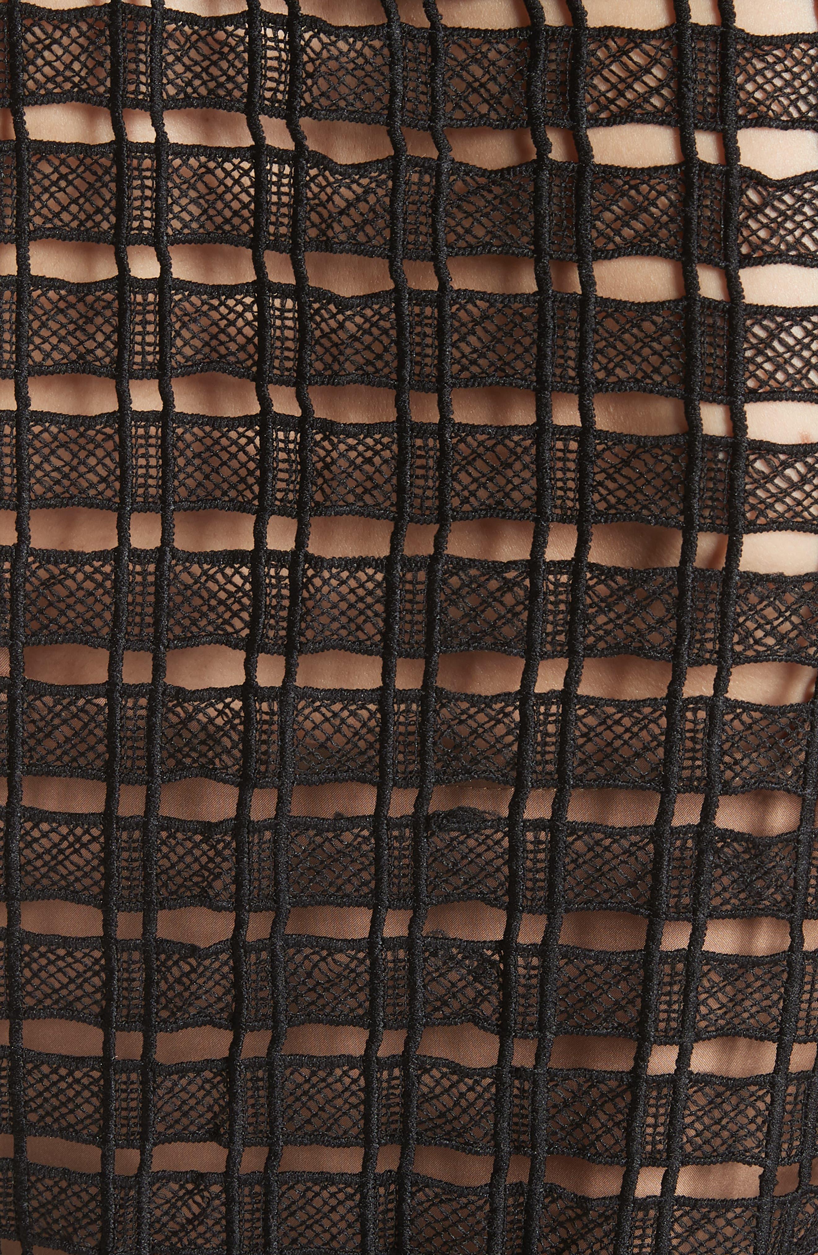 Windowpane Cutwork Sleeveless Blouse,                             Alternate thumbnail 5, color,                             Black