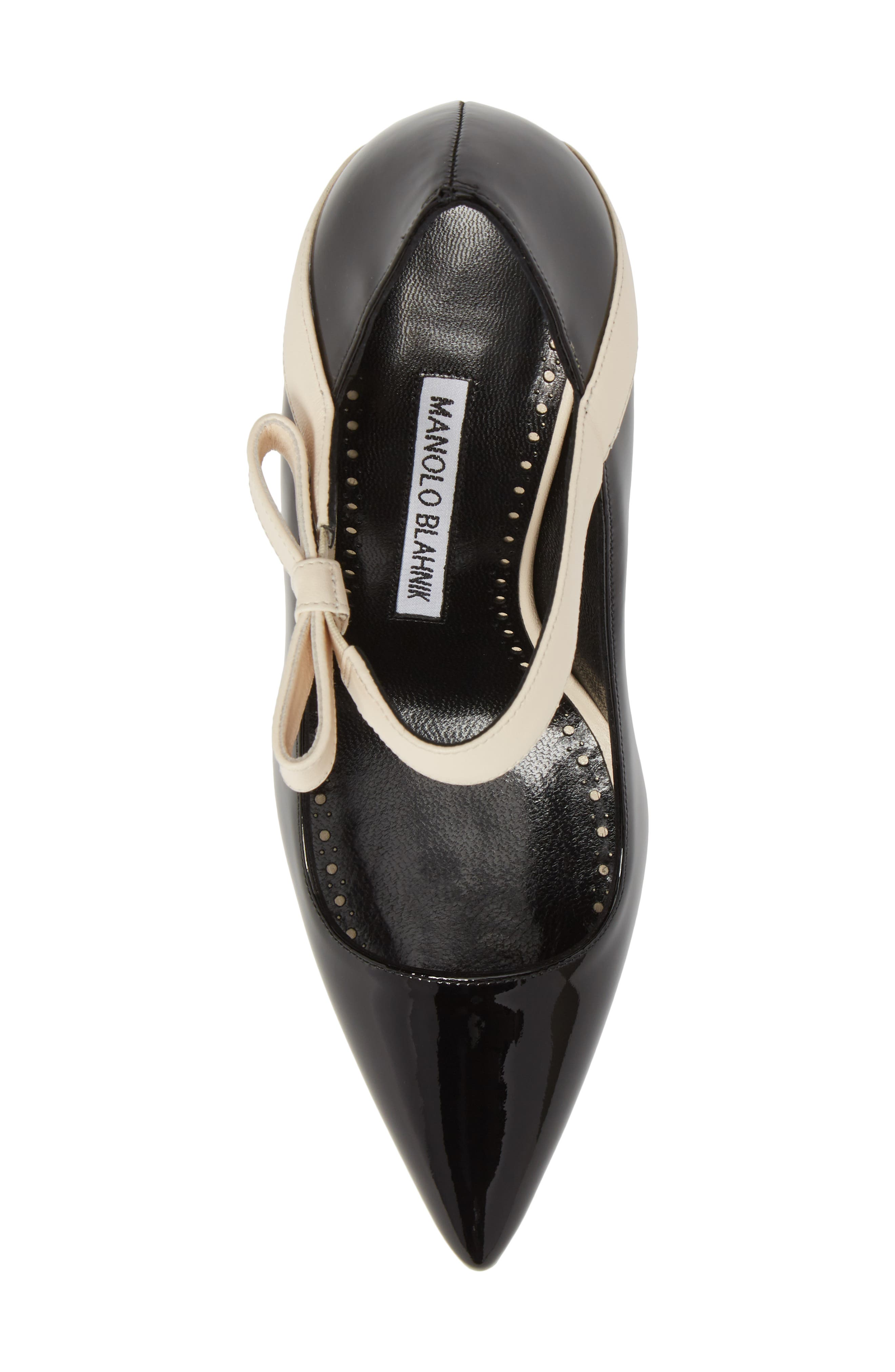 Immaculada Bow Pointy Toe Pump,                             Alternate thumbnail 5, color,                             Black/ White