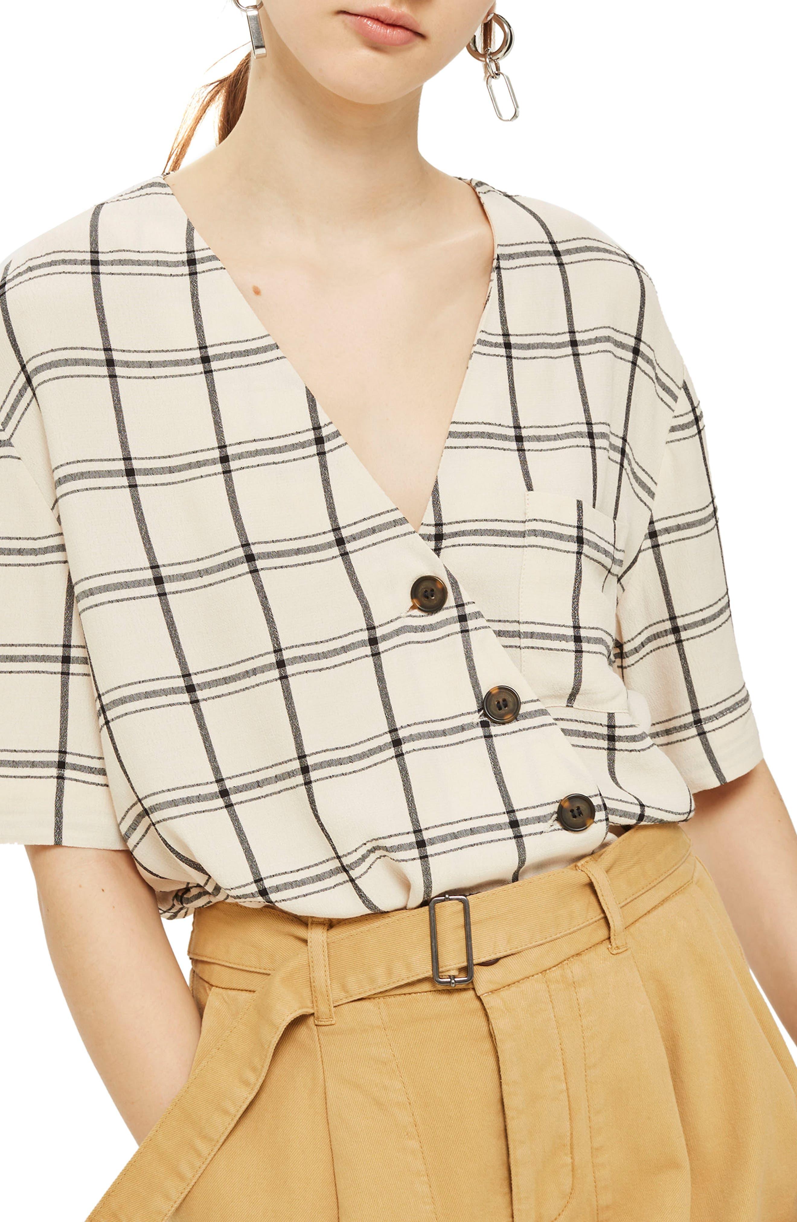 Ashley Check Asymmetrical Top,                         Main,                         color, Ivory Multi