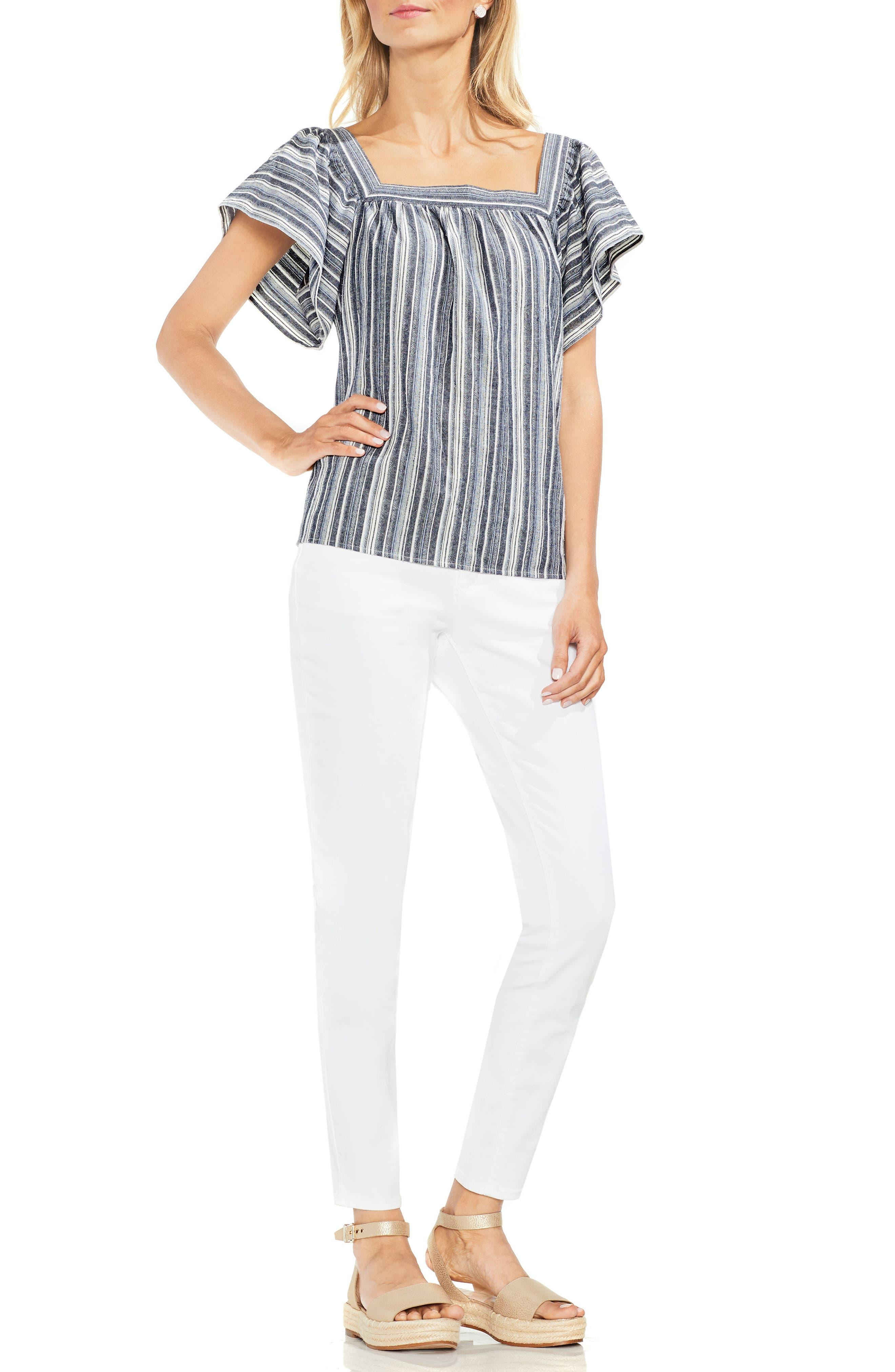 Charcoal Stripe Ruffle Sleeve Cotton Linen Top,                             Alternate thumbnail 3, color,                             Regatta Bay