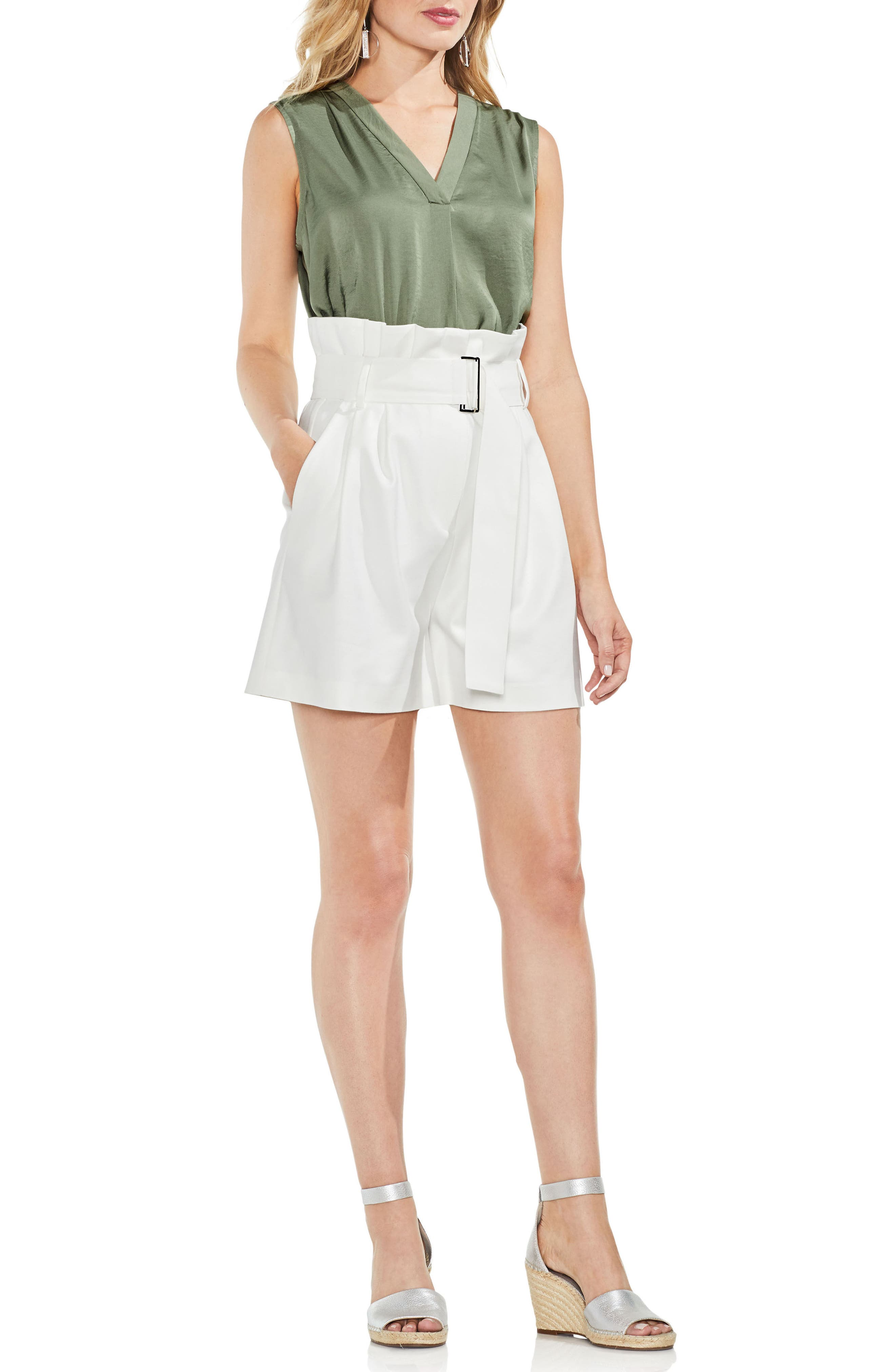 Belted High Waist Shorts,                             Alternate thumbnail 3, color,                             New Ivory