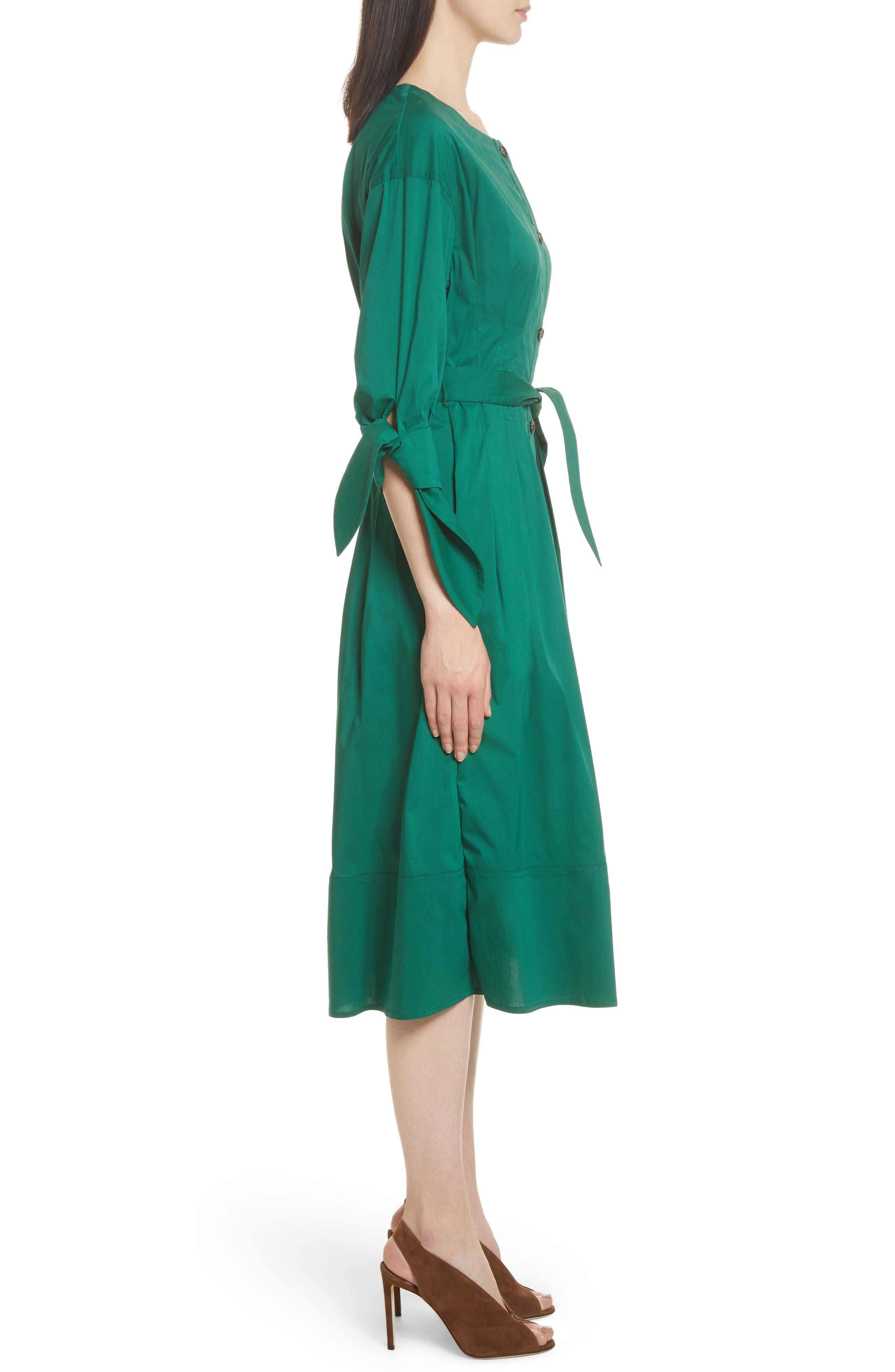 Cotton Blend Tie Dress,                             Alternate thumbnail 4, color,                             Emerald