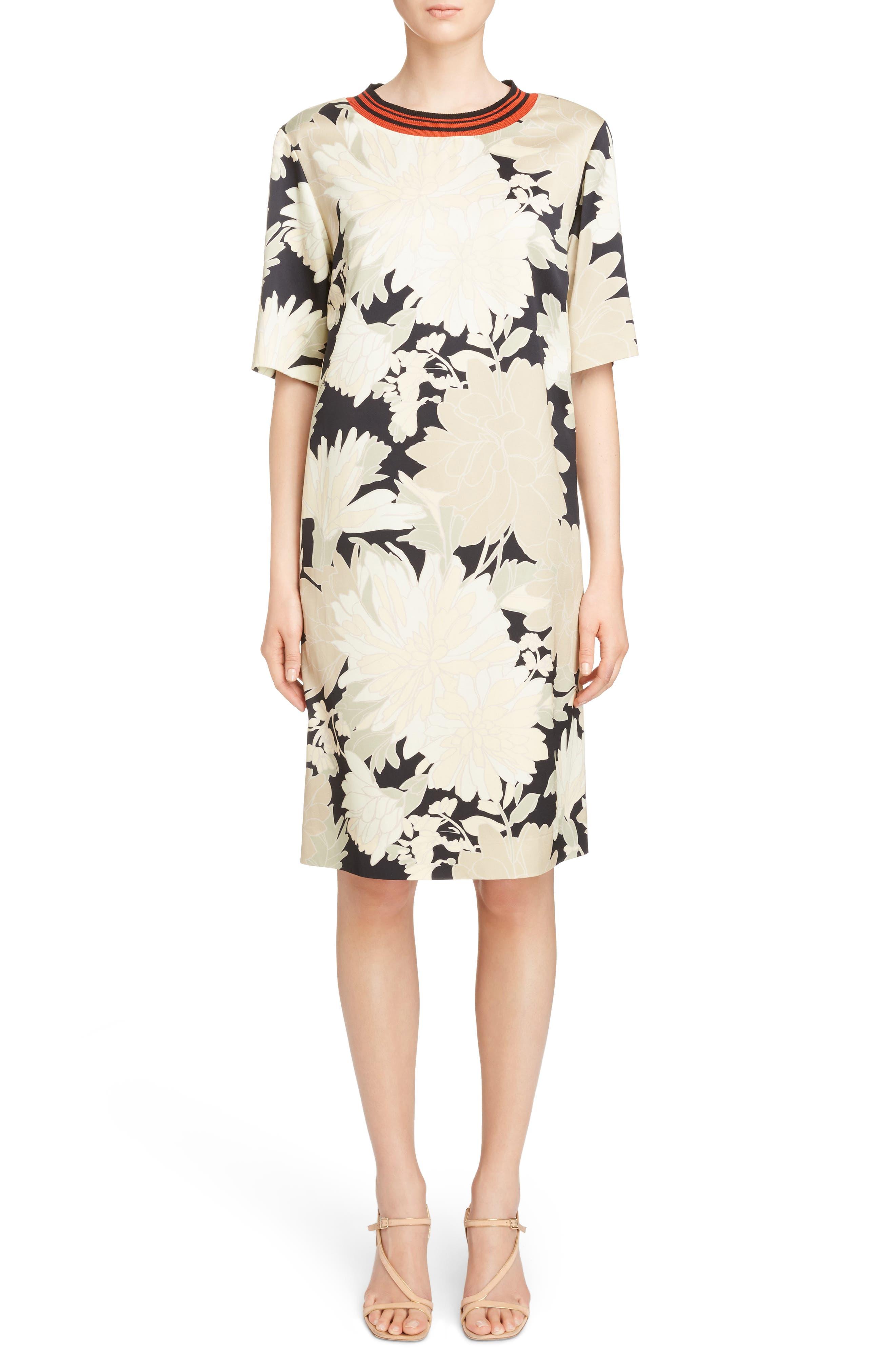 Knit Trim Floral Dress,                             Main thumbnail 1, color,                             Black