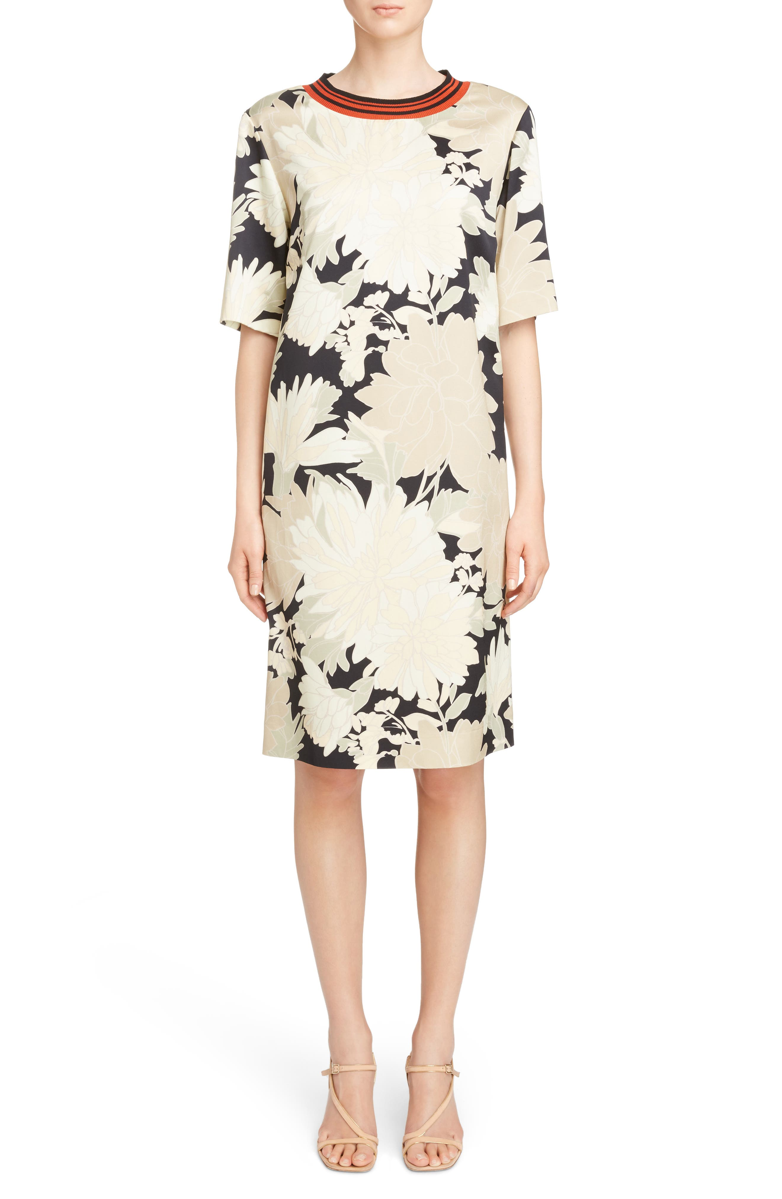 Alternate Image 1 Selected - Dries Van Noten Knit Trim Floral Dress