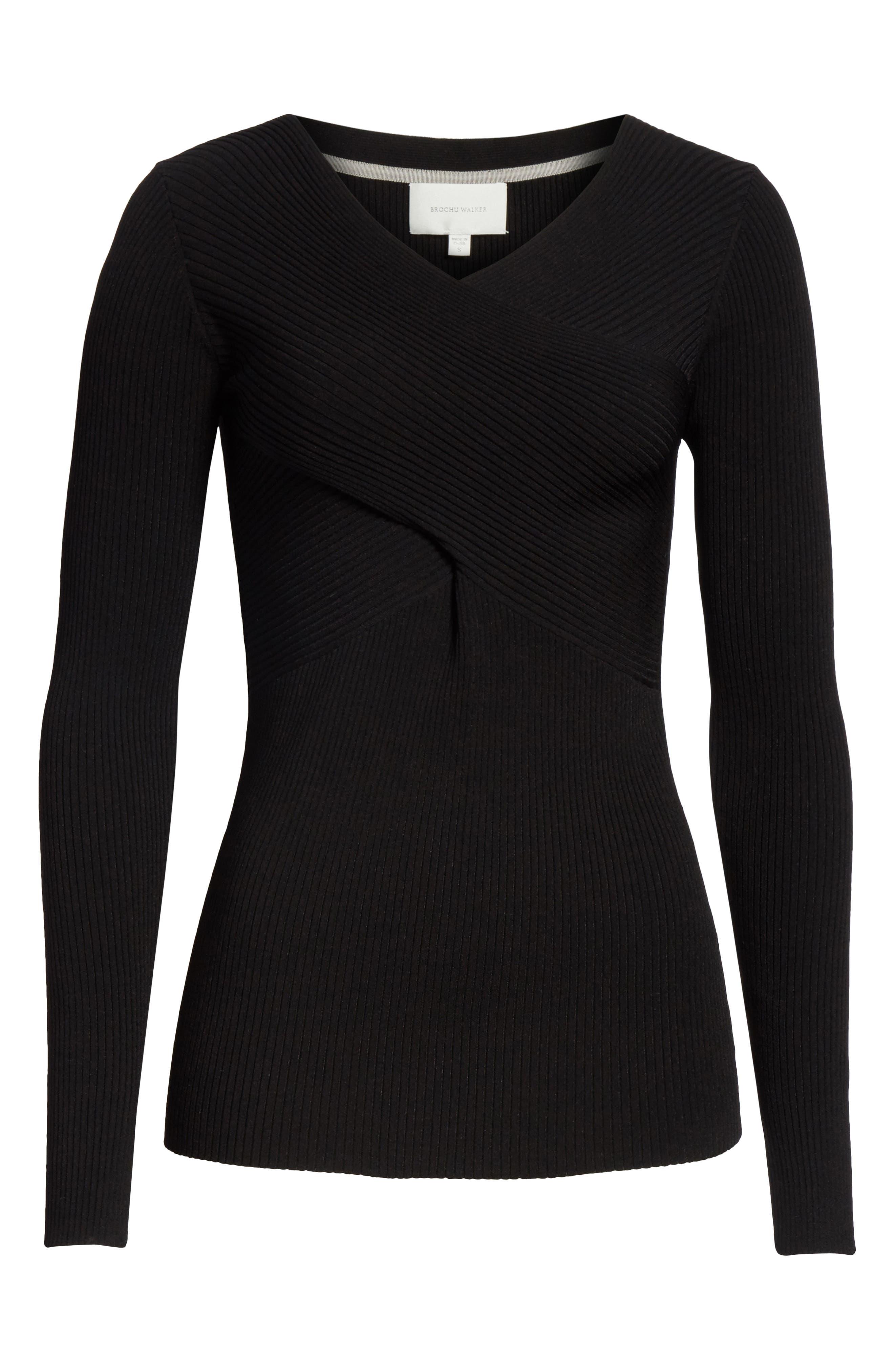 Athena Faux Wrap Sweater,                             Alternate thumbnail 6, color,                             Black Onyx
