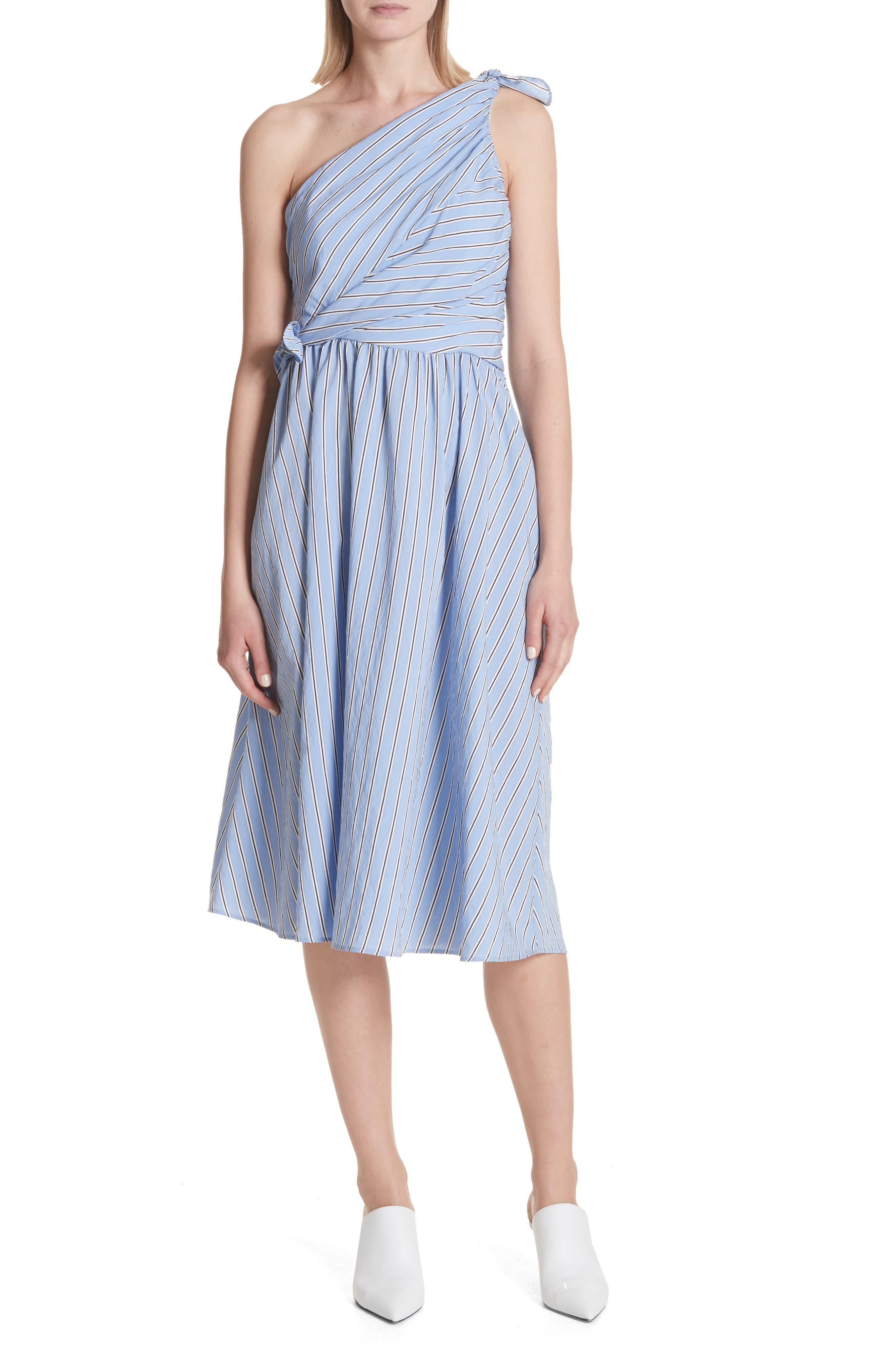 Cabrera Stripe One-Shoulder Dress,                         Main,                         color, Olxford Blue