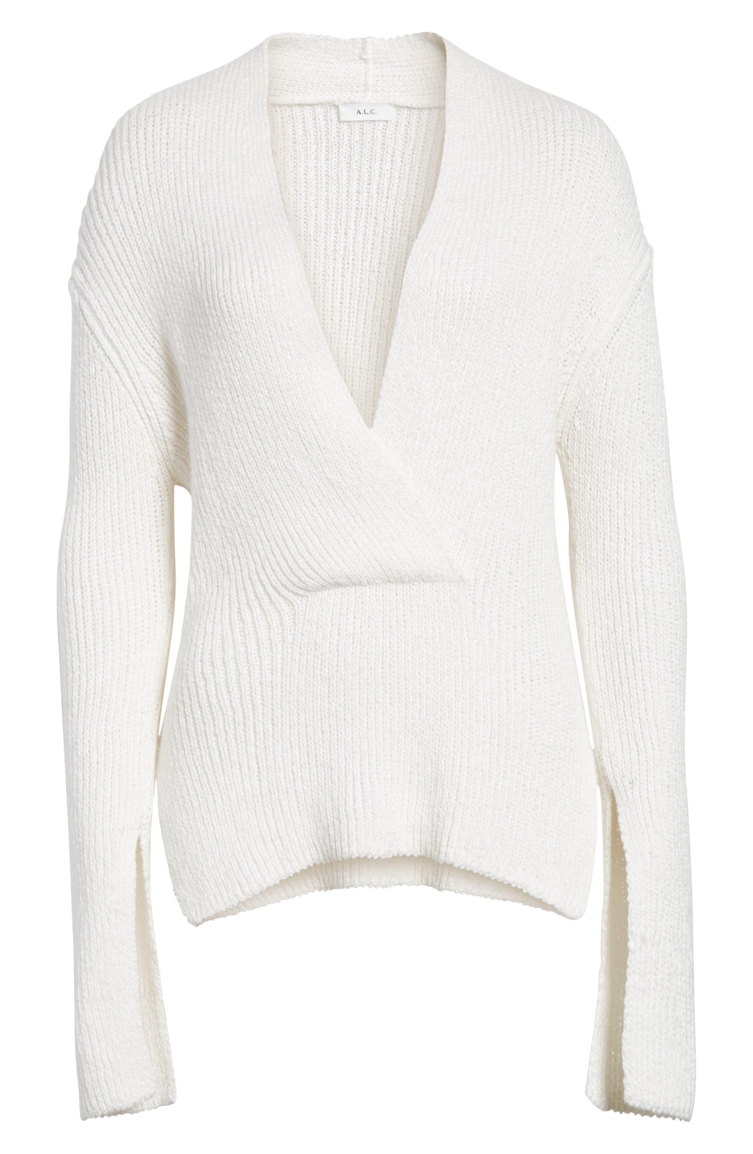 Nick Cotton Sweater,                             Alternate thumbnail 6, color,                             White