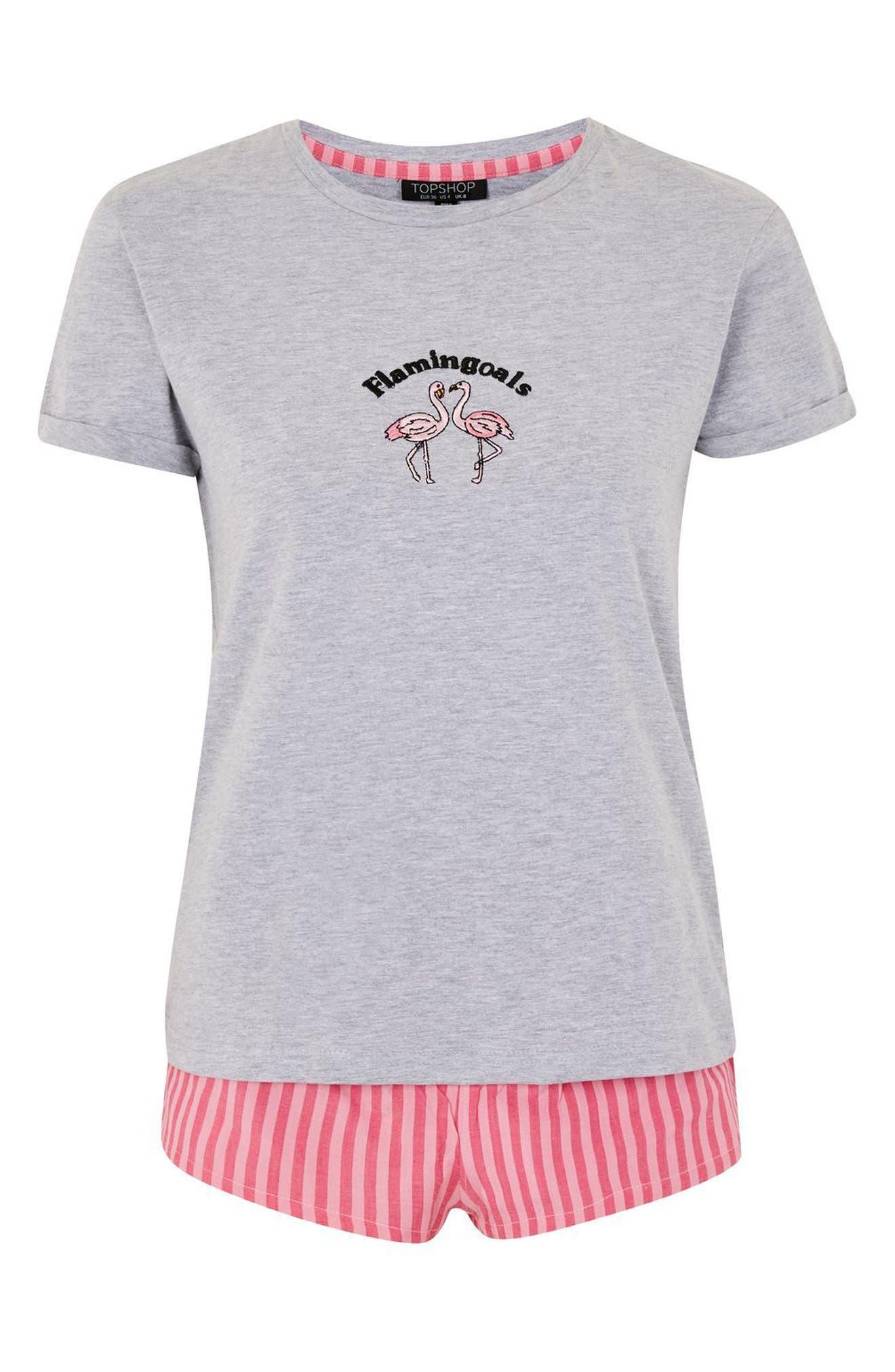 Flamingoals Short Pajamas,                             Alternate thumbnail 3, color,                             Pink Multi