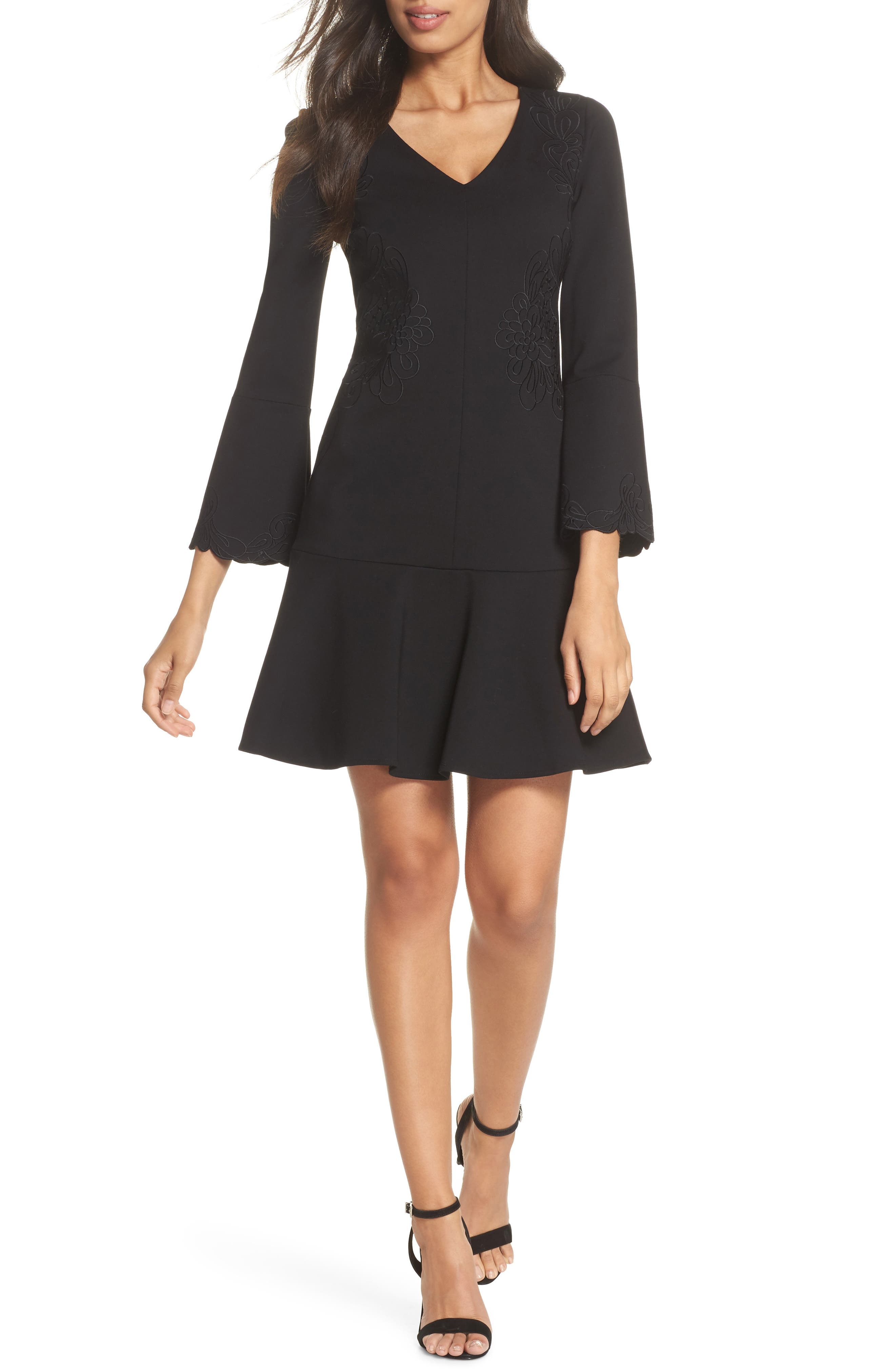 Devyn Embroidered Fit & Flare Dress,                             Main thumbnail 1, color,                             Black