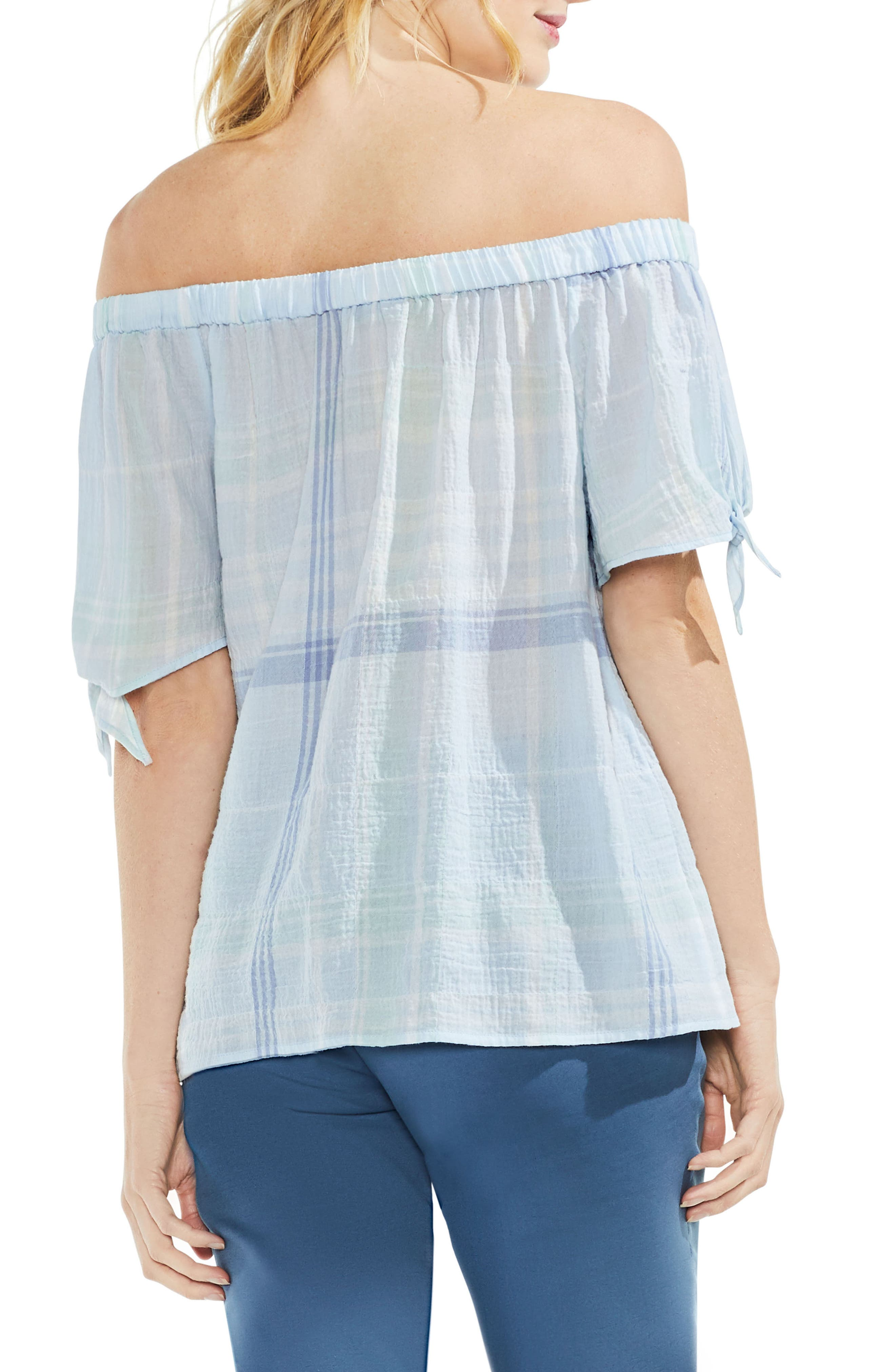 Crinkle Stretch Cotton Off the Shoulder Top,                             Alternate thumbnail 2, color,                             Chalk Blue