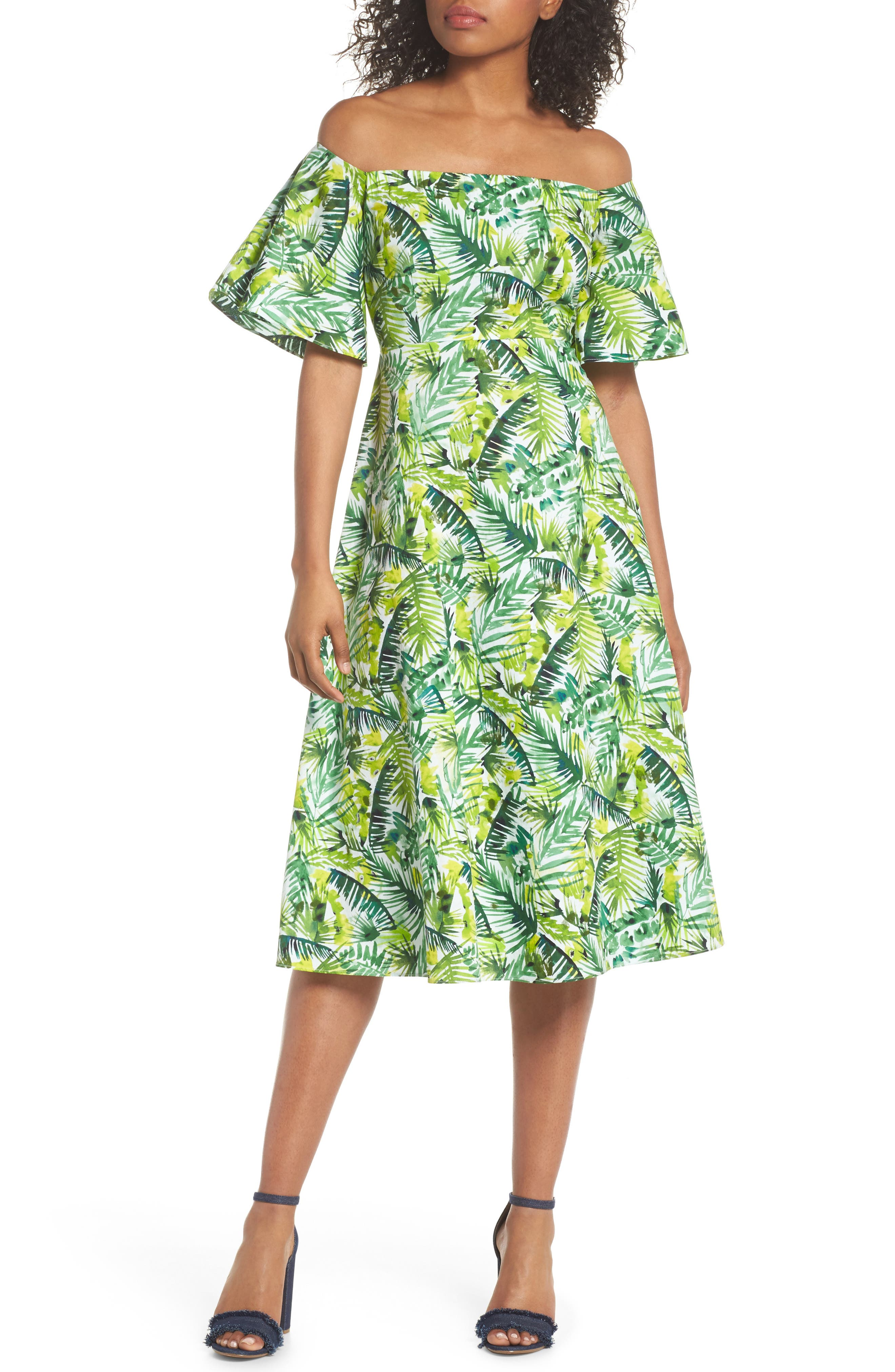 Palm Print Off the Shoulder Dress,                         Main,                         color, Soft White/ Green