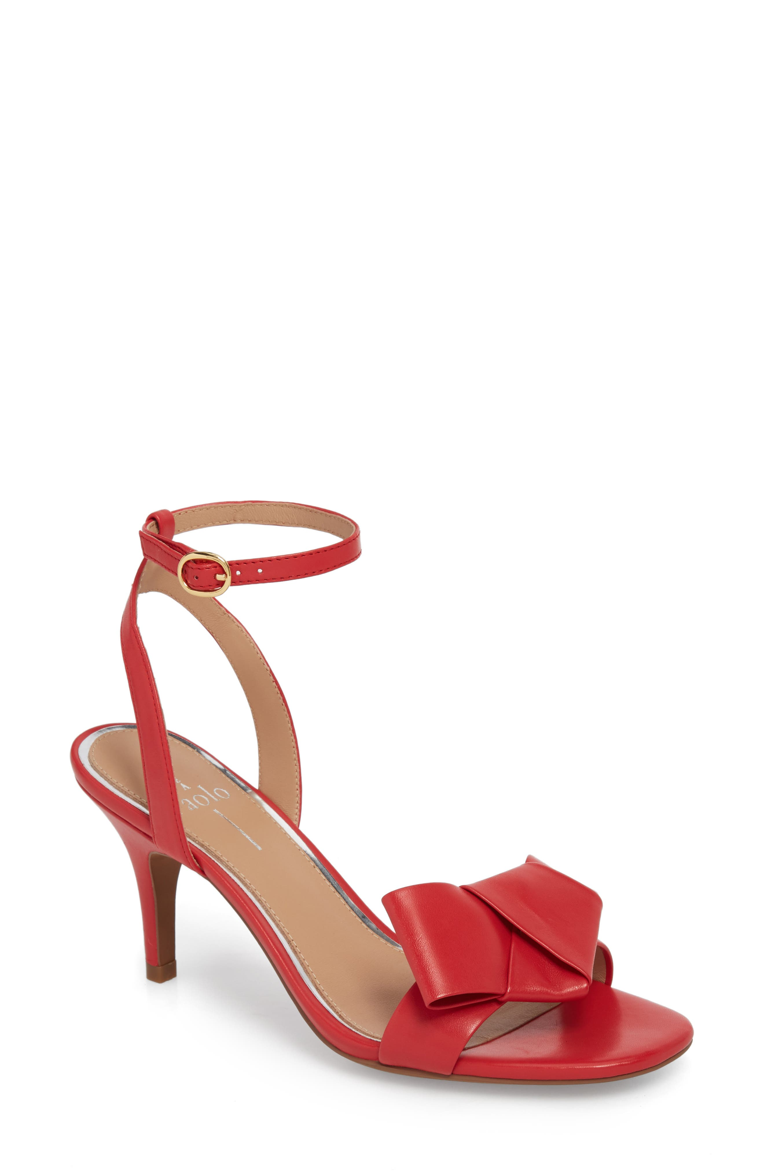 Haven Ankle Strap Sandal,                             Main thumbnail 1, color,                             Red Leather