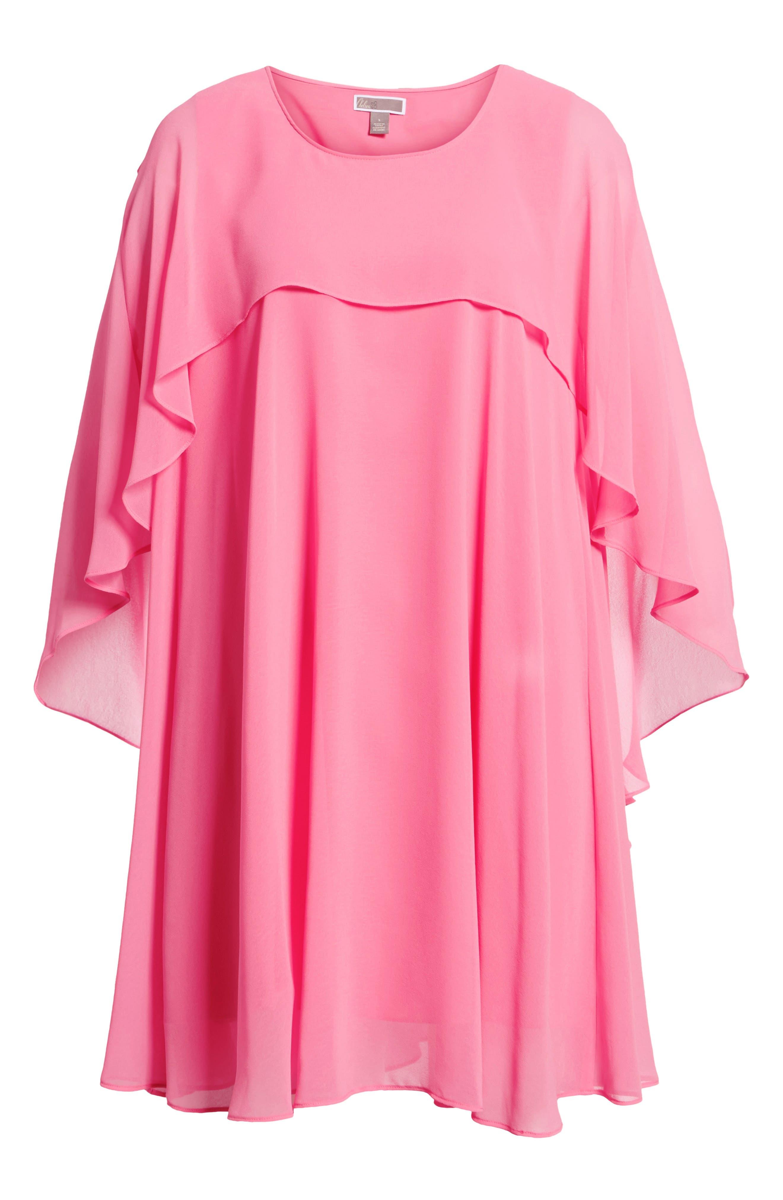 A-Line Chiffon Dress,                             Alternate thumbnail 6, color,                             Pink Zenna